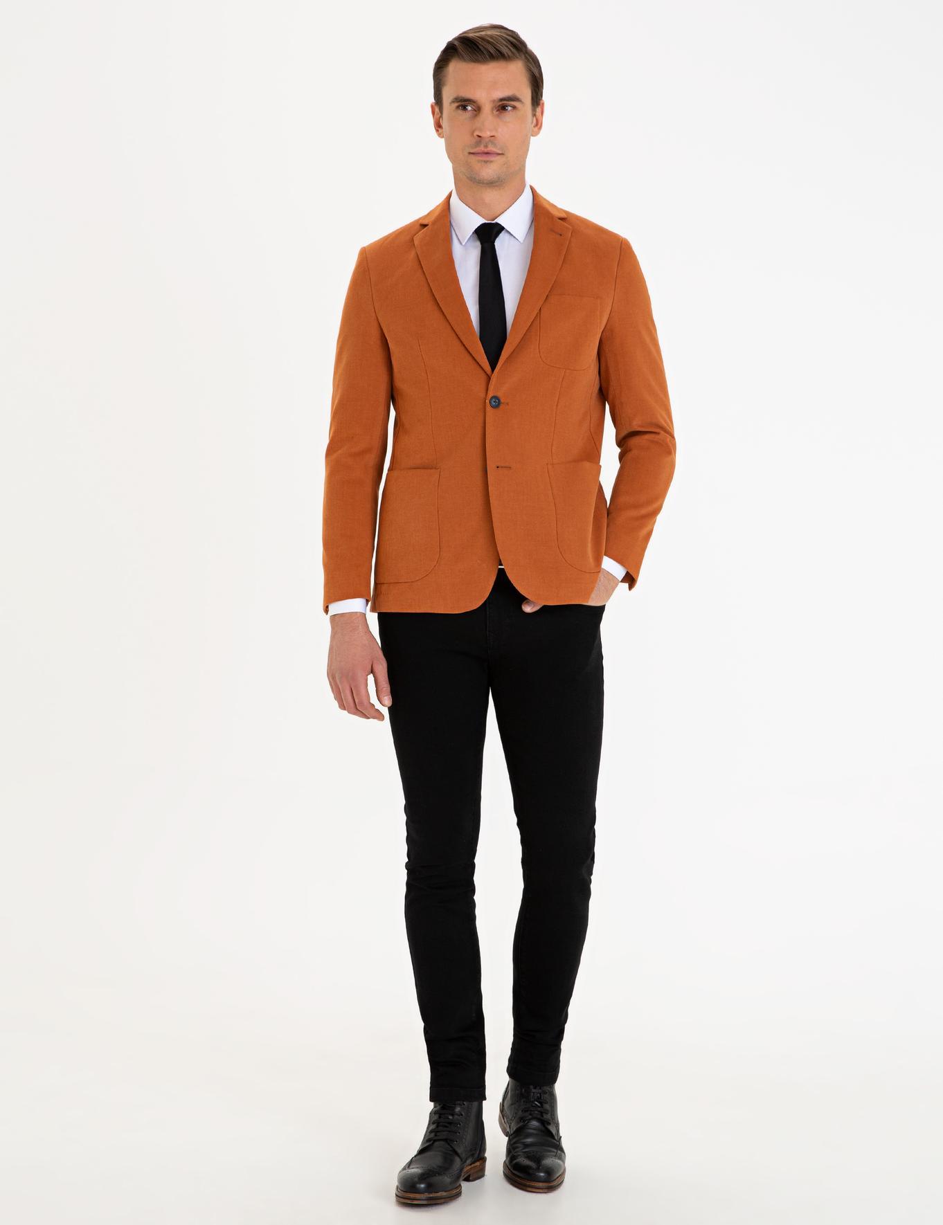 Camel Slim Fit Ceket