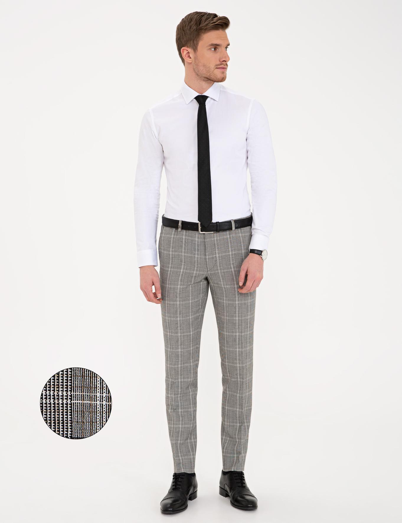 Siyah Ekose Ekstra Slim Fit Pantolon