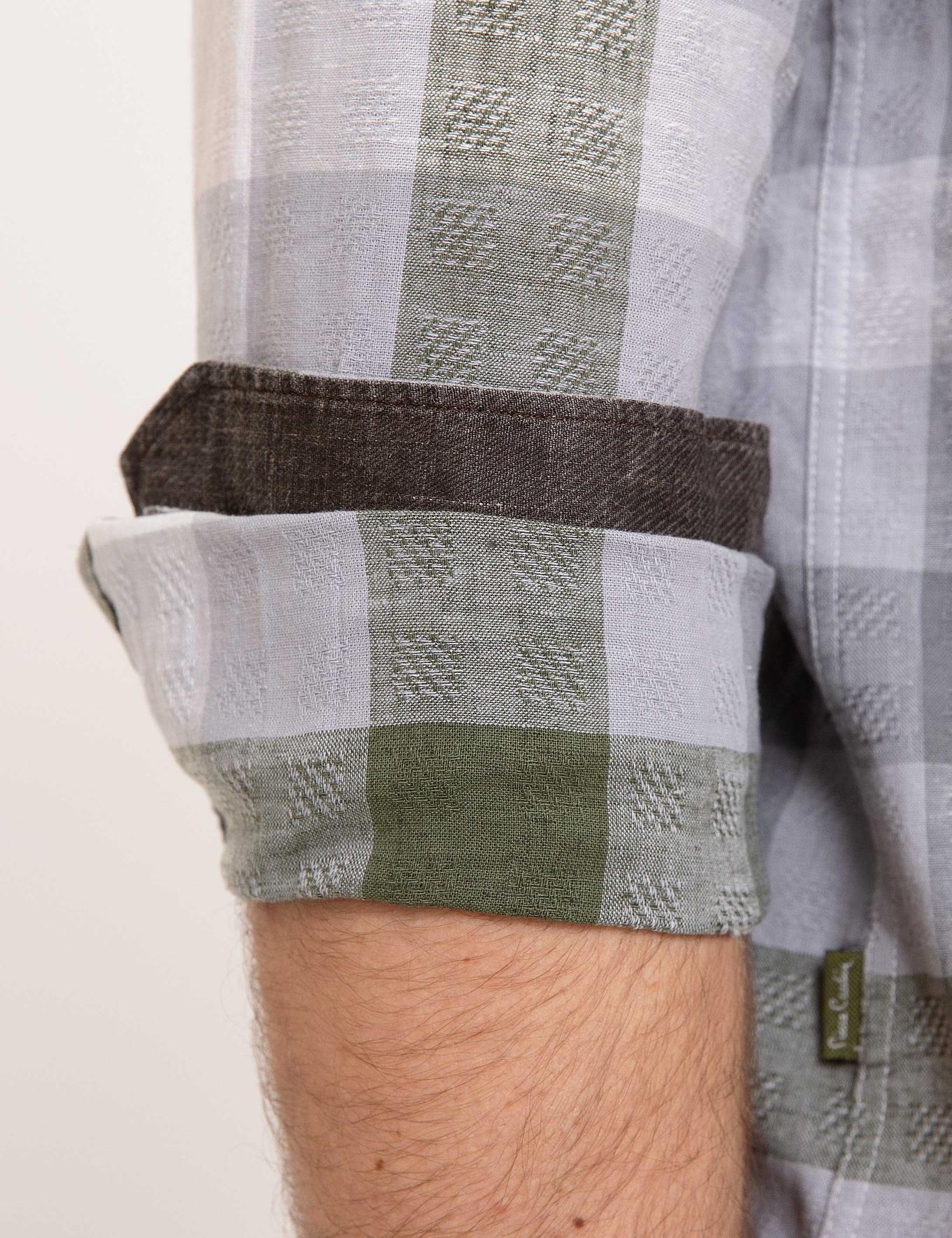Gri Slim Fit Keten Karışımlı Gömlek