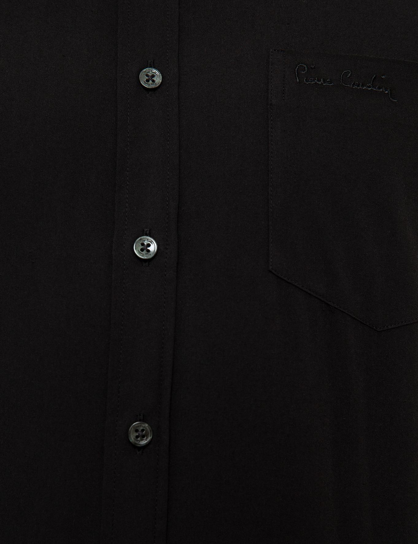 Siyah Regular Fit Kısa Kollu Gömlek