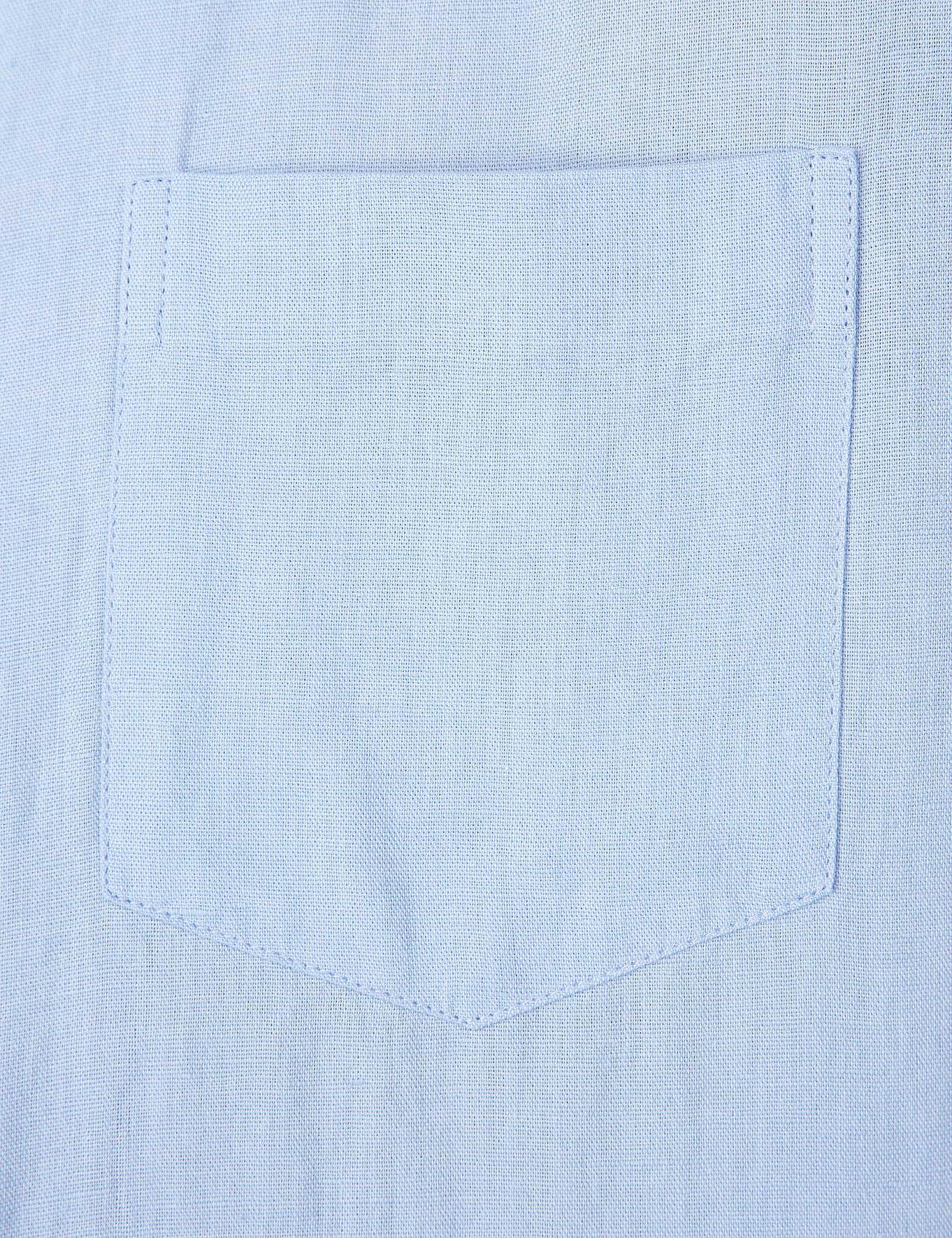 Açık Mavi Slim Fit Keten Karışımlı Kısa Kollu Gömlek
