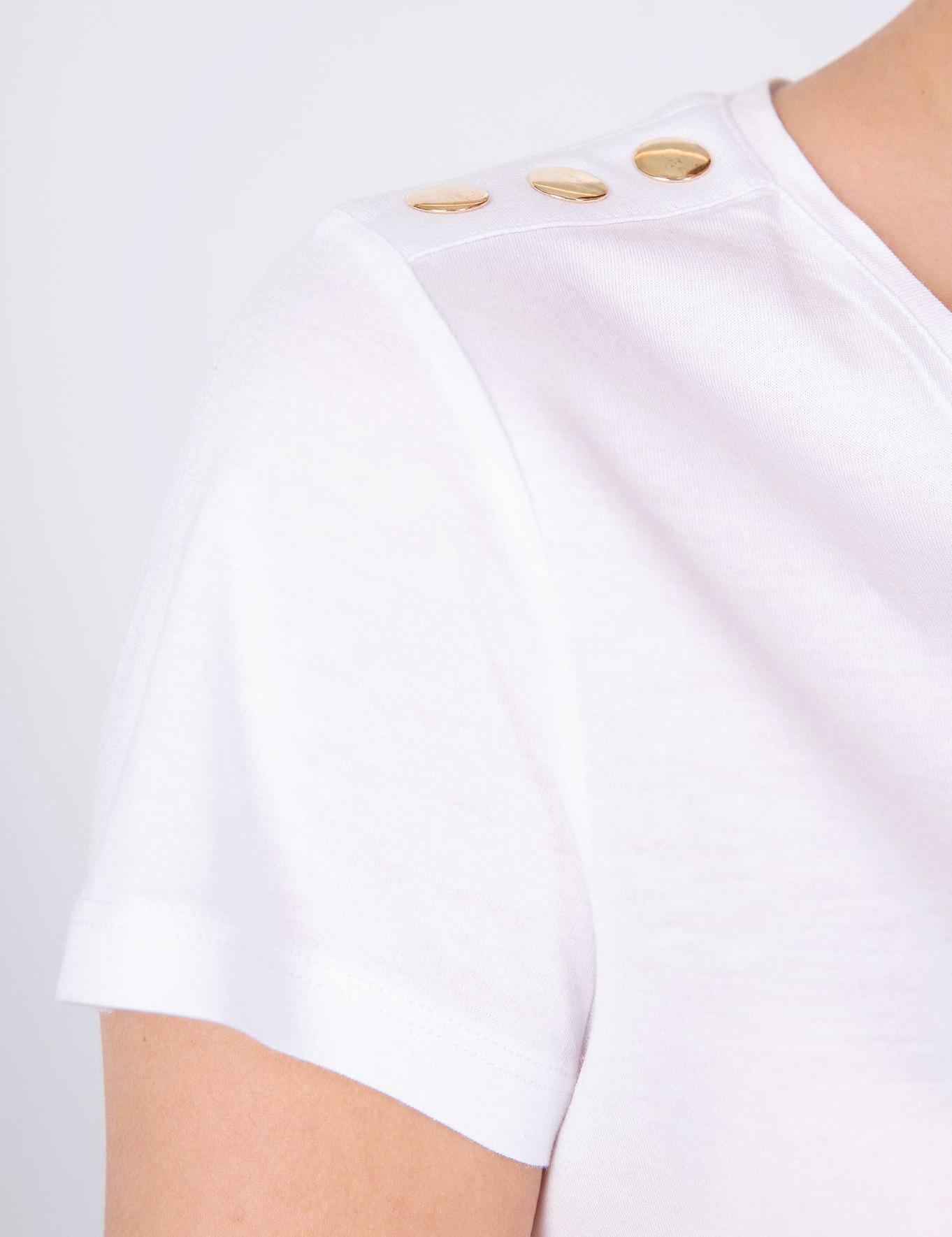 Beyaz Standart Fit V Yaka T-Shirt