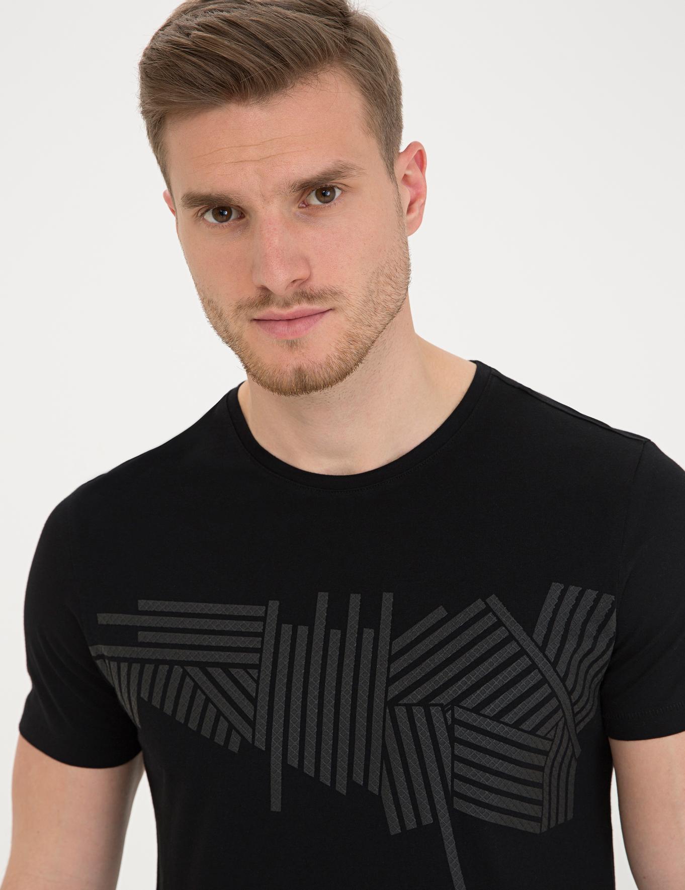 Siyah Slim Fit Bisiklet Yaka T-Shirt
