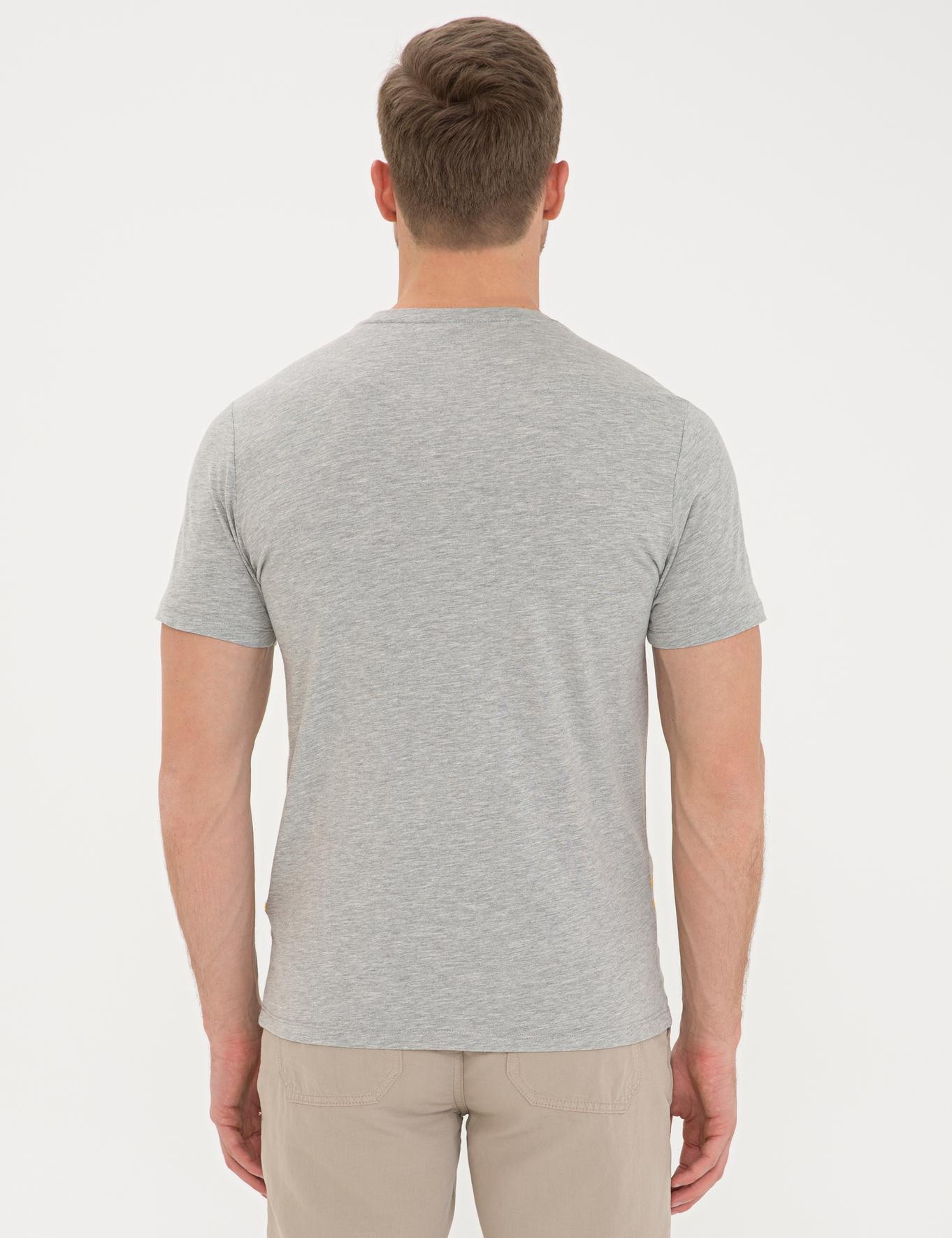 Açık Gri Melanj Slim Fit Bisiklet Yaka T-Shirt
