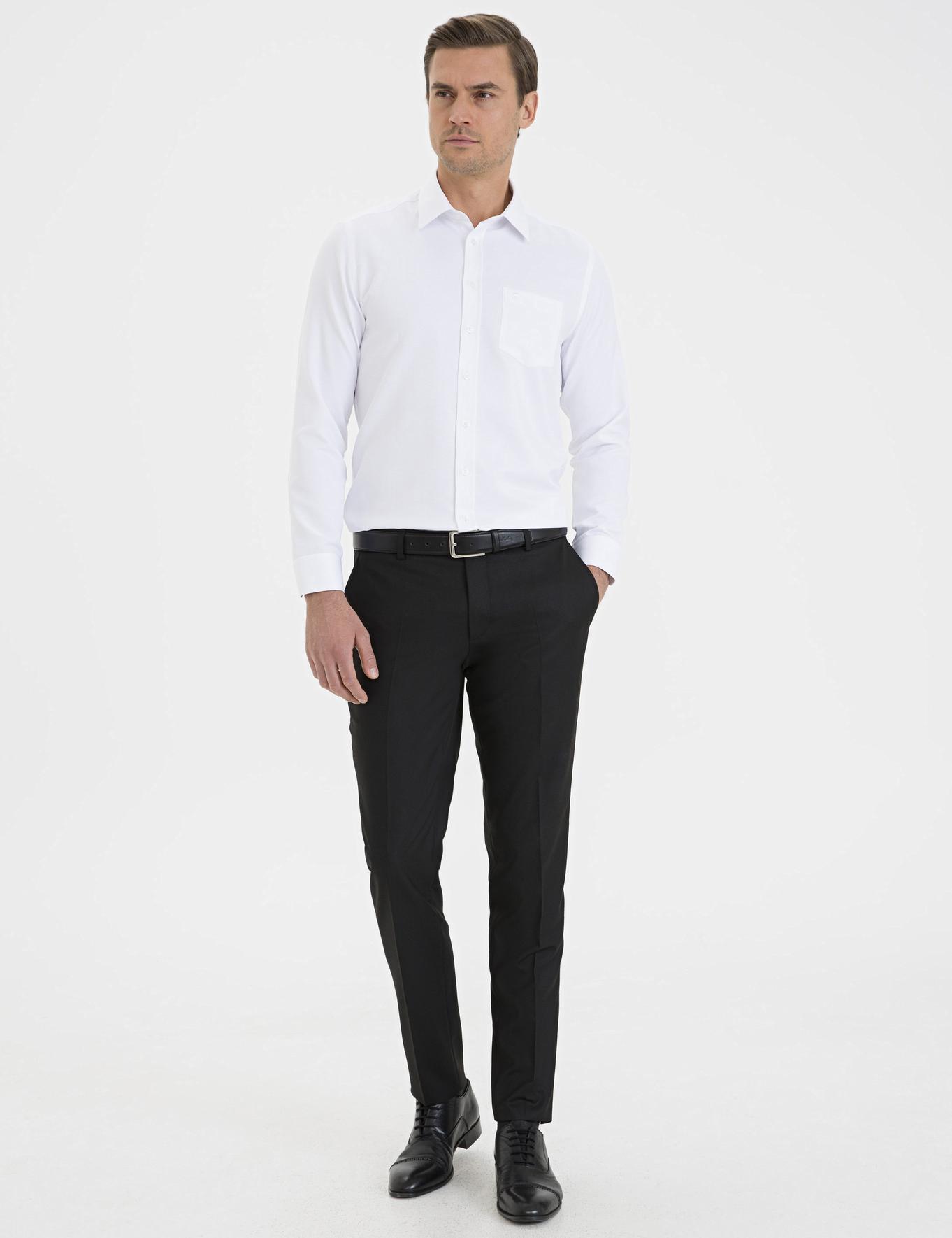 Beyaz Regular Fit Armürlü Gömlek