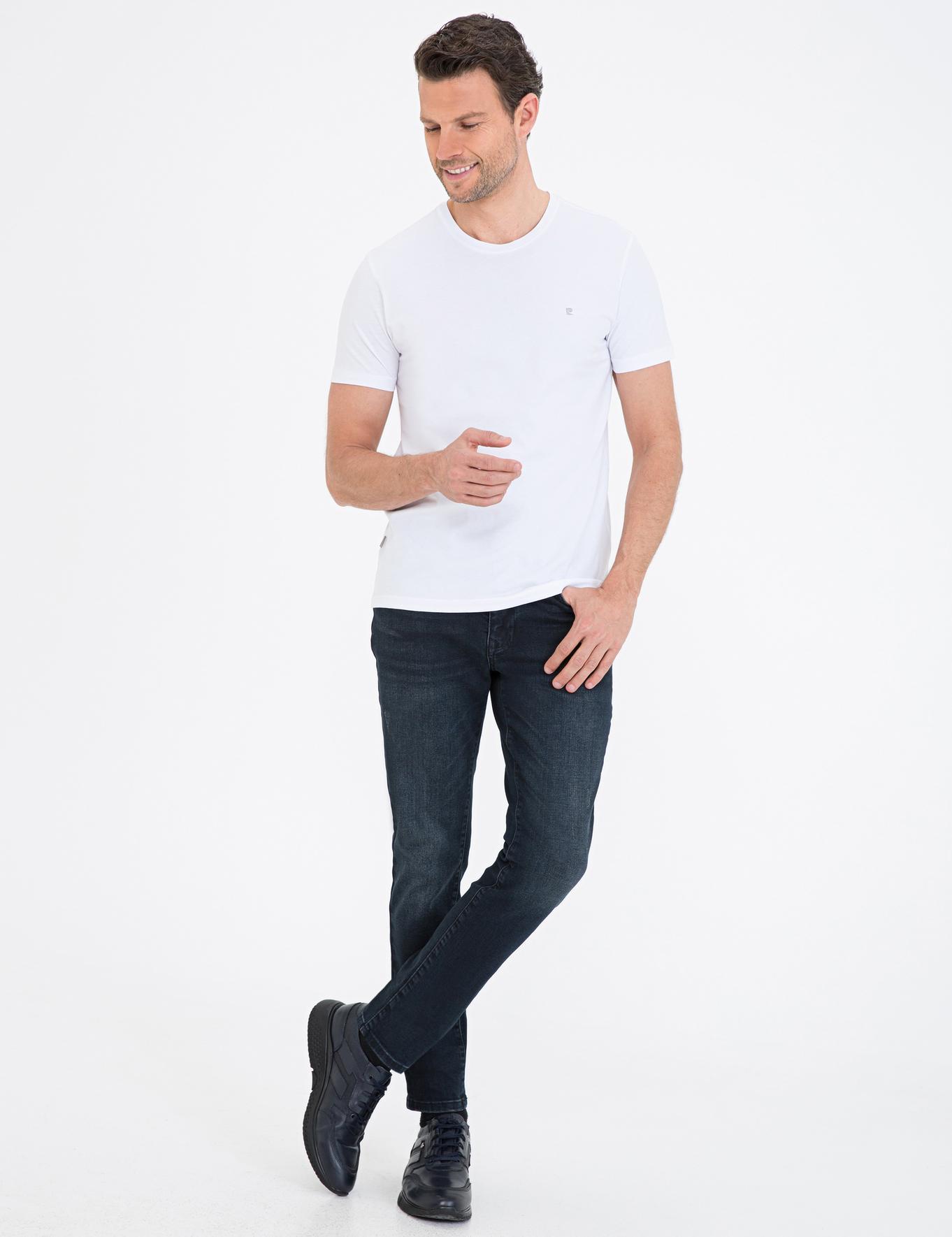 Beyaz Slim Fit Bisiklet Yaka Basic T-Shirt