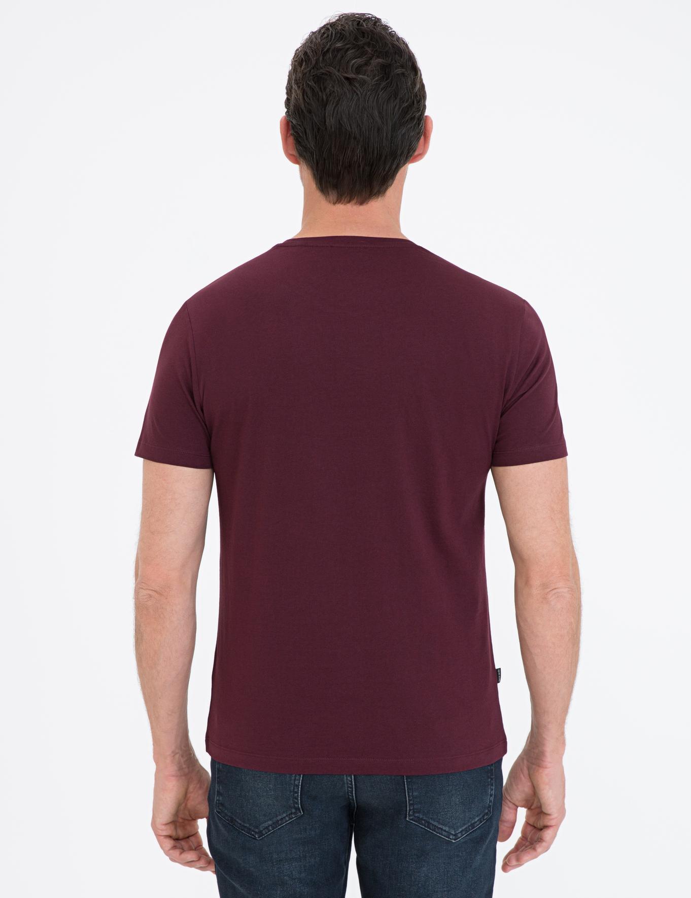 Bordo Slim Fit Bisiklet Yaka Basic T-Shirt