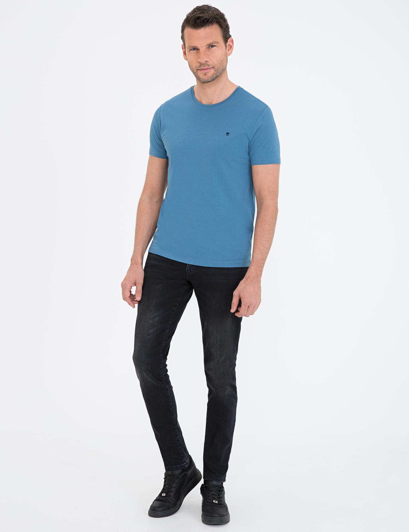 İndigo Mavi Slim Fit Bisiklet Yaka Basic T-Shirt