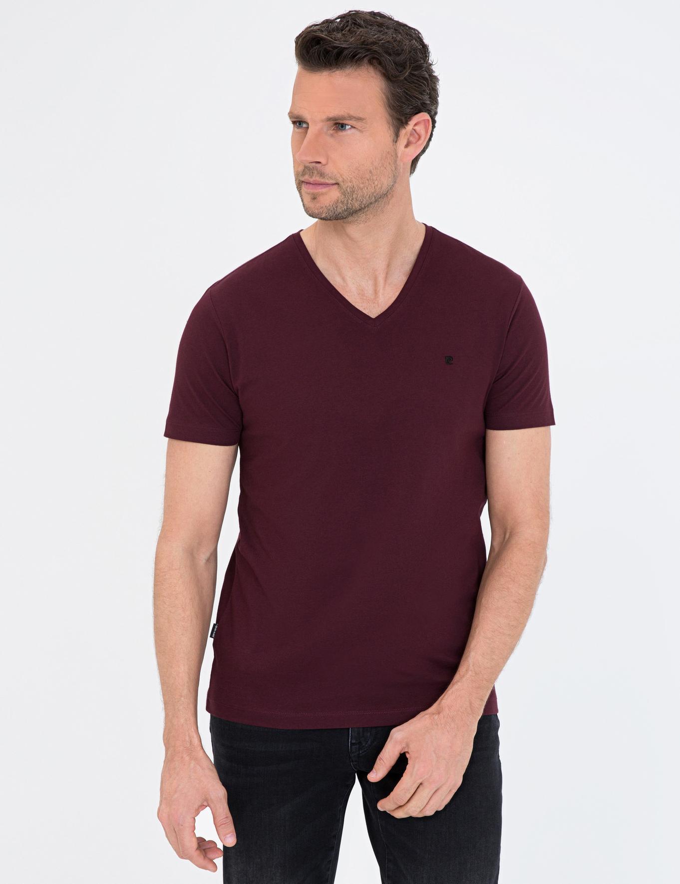 Bordo Slim Fit V Yaka Basic T-Shirt