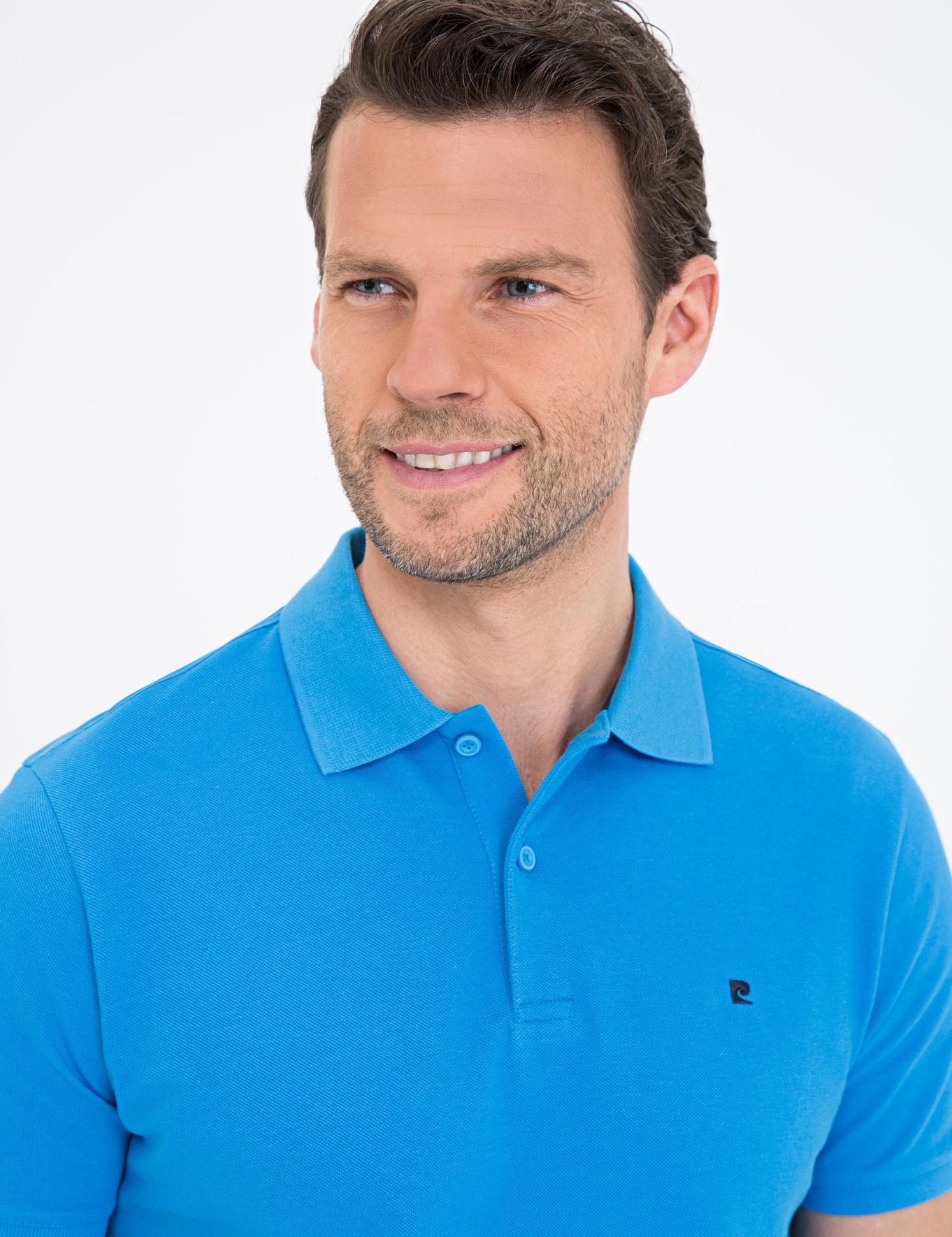 Kobalt Mavi Slim Fit Basic Polo Yaka T-Shirt