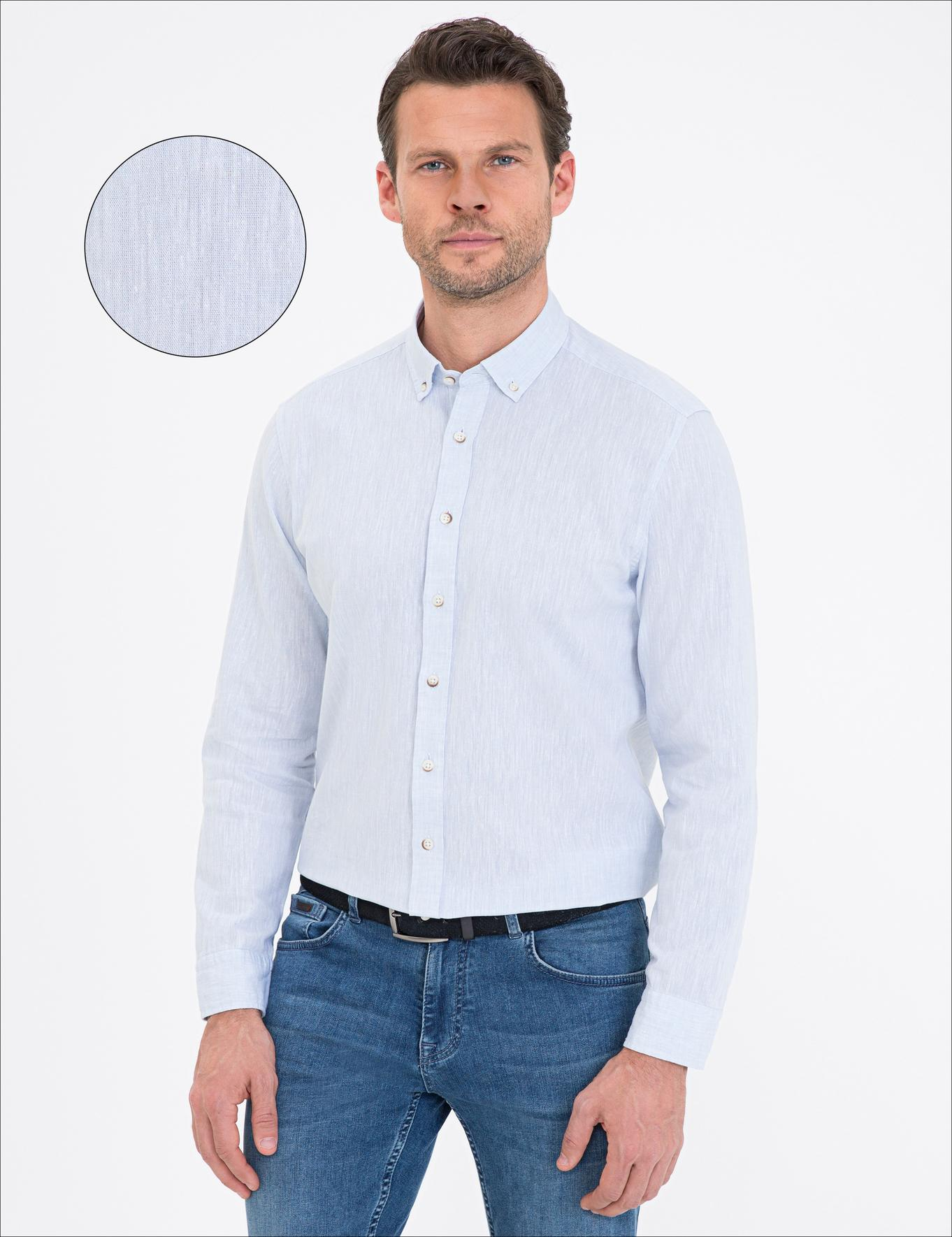 Açık Mavi Regular Fit Keten Karışımlı Gömlek
