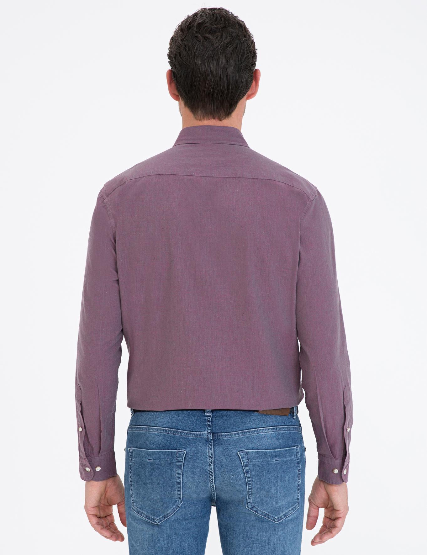Mor Regular Fit Keten Karışımlı Gömlek