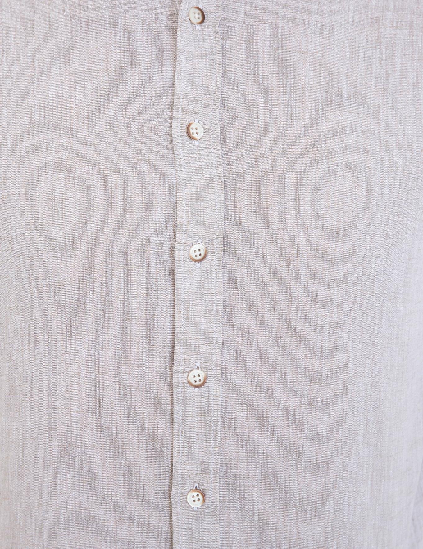 Bej Regular Fit Keten Karışımlı Gömlek