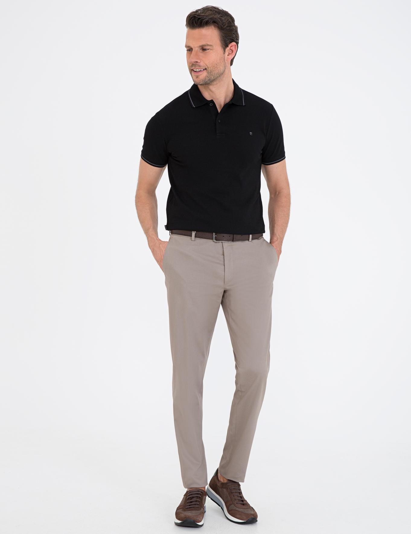 Siyah Slim Fit Basic Polo Yaka T-Shirt