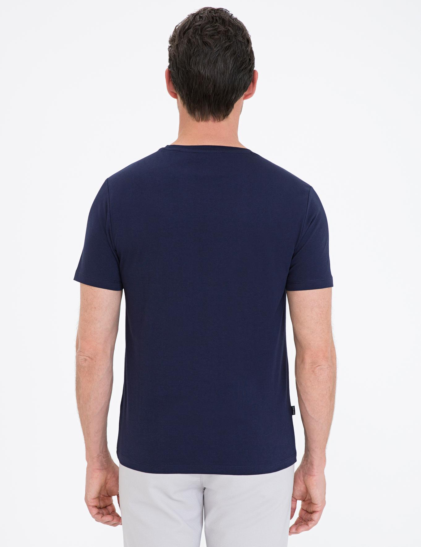Lacivert Slim Fit Bisiklet Yaka Basic T-Shirt