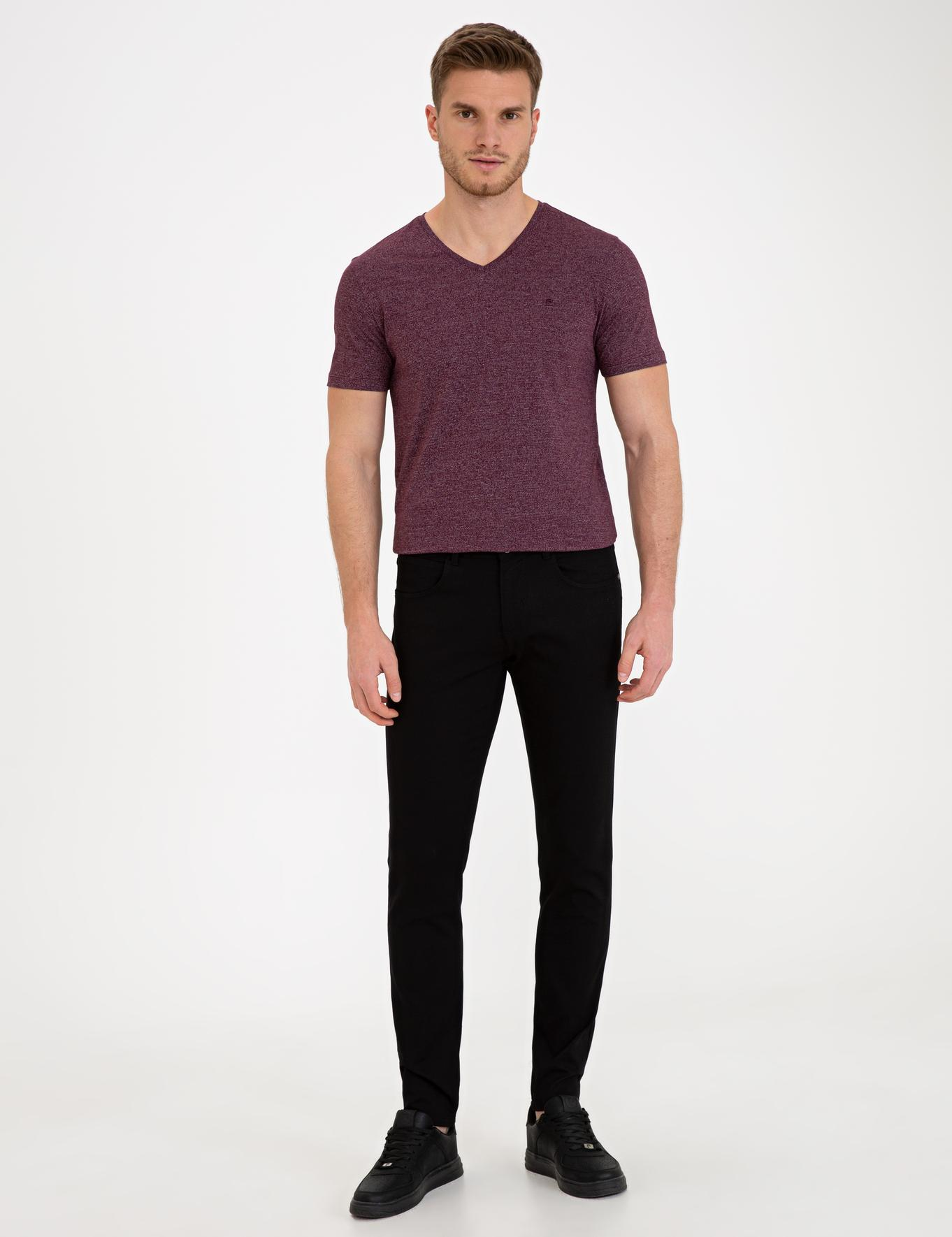 Bordo Slim Fit V Yaka T-Shirt