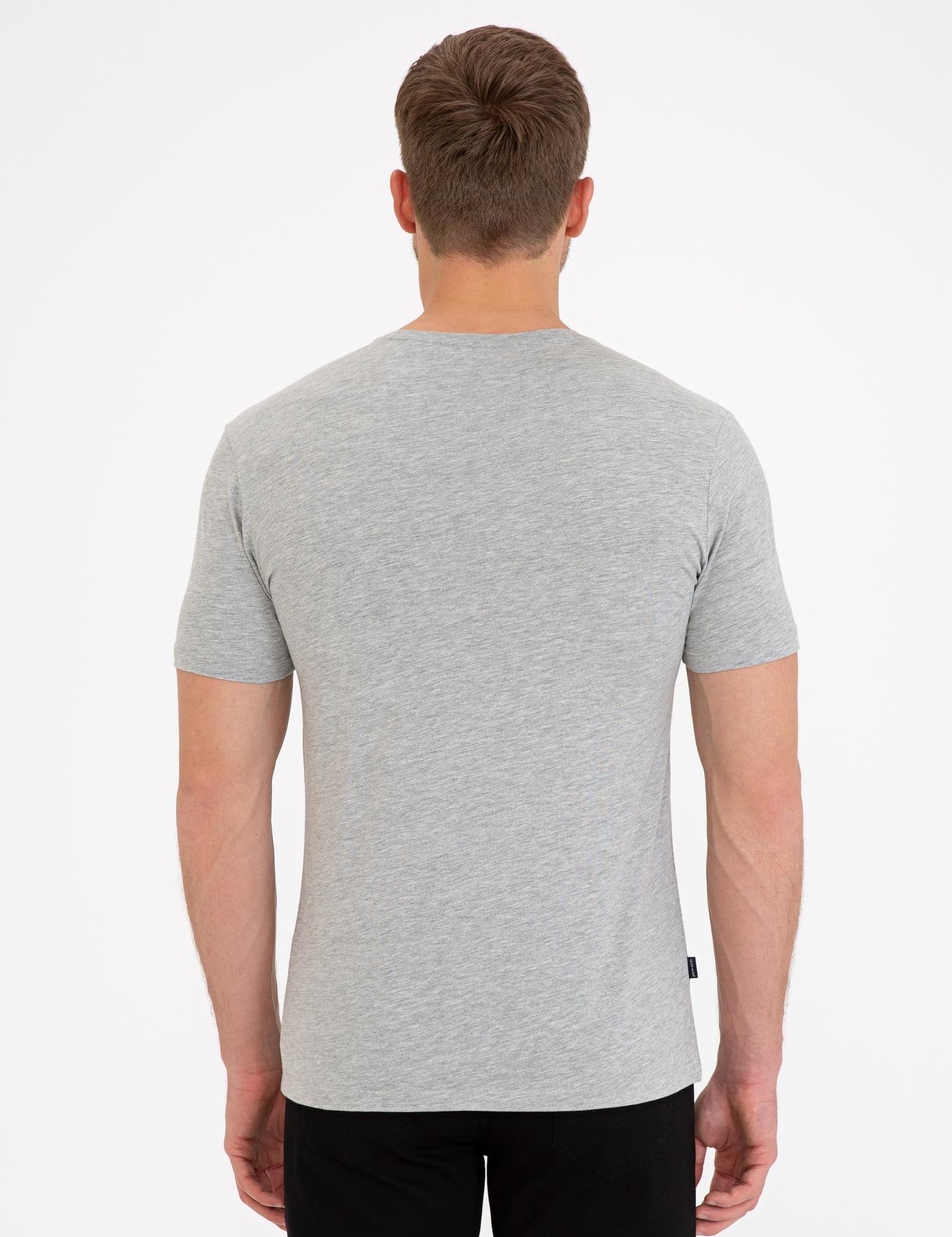 Açık Gri Melanj Slim Fit Bisiklet Yaka Basic T-Shirt