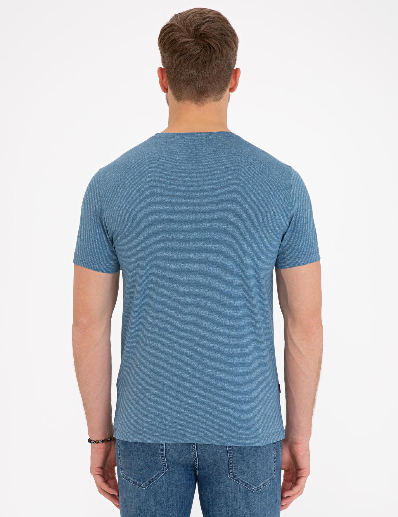 İndigo Mavi Slim Fit V Yaka T-Shirt