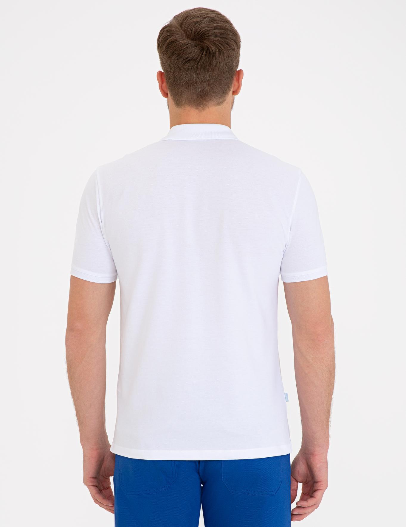 Beyaz Slim Fit Basic Polo Yaka T-Shirt