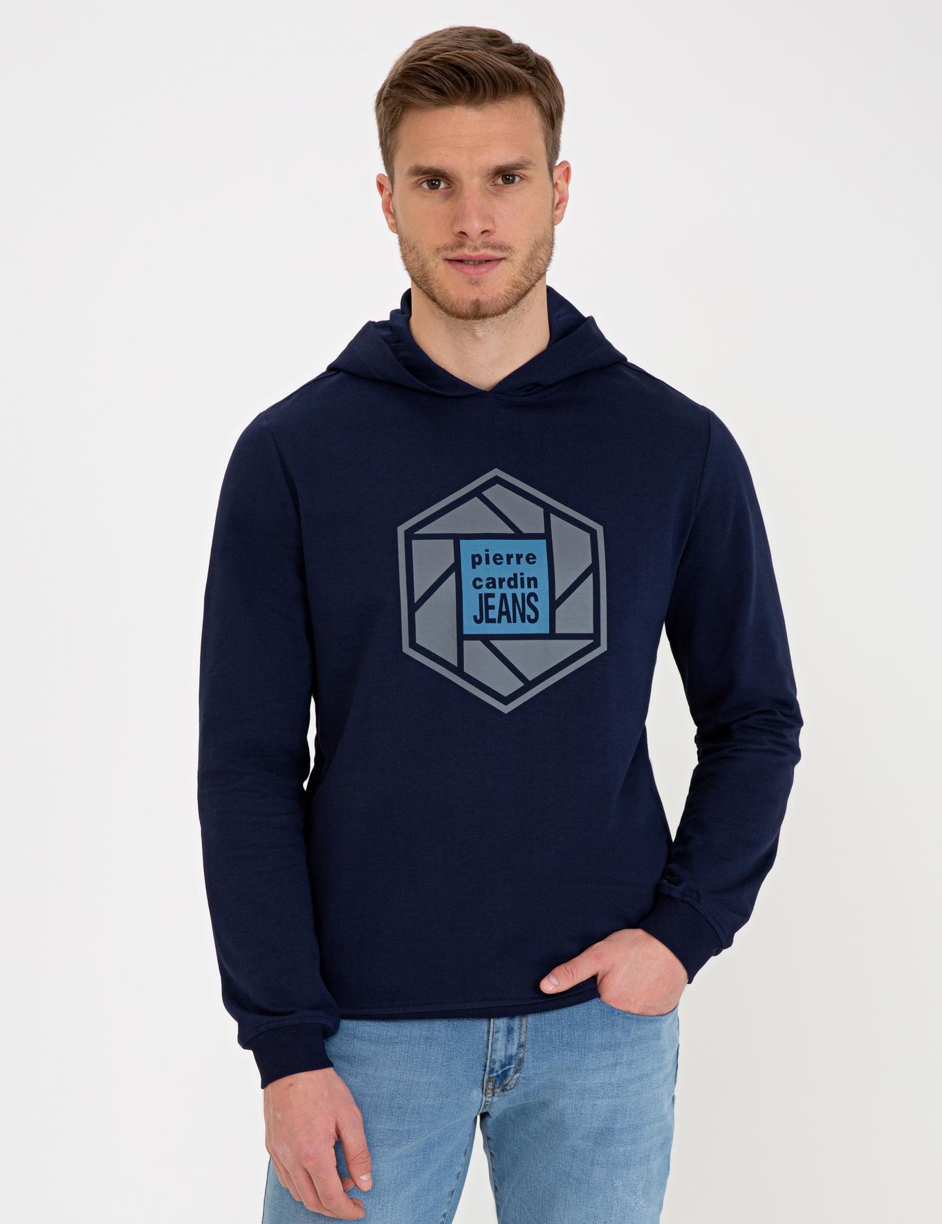 Lacivert Standart Fit Kapüşonlu Sweatshirt