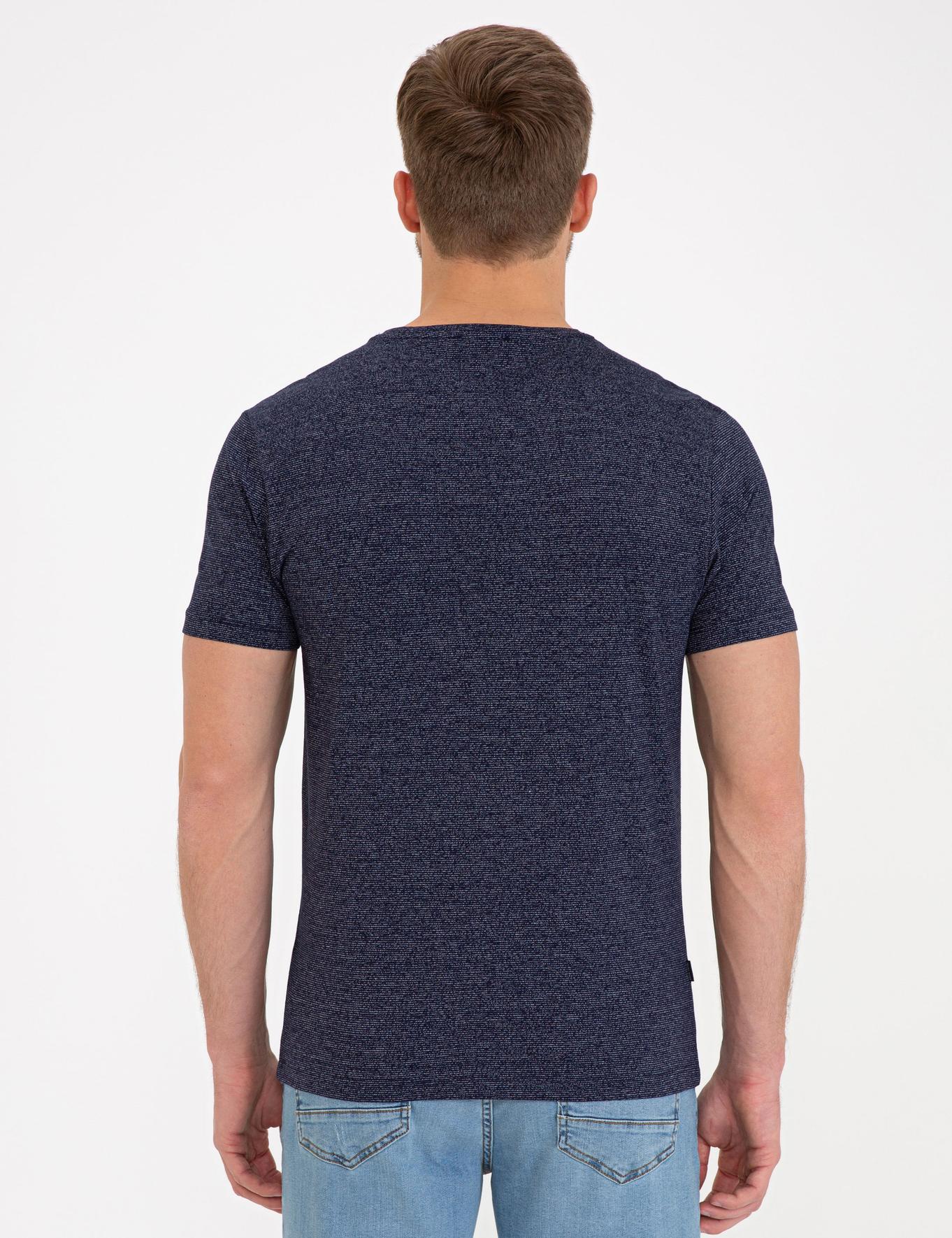Lacivert Slim Fit V Yaka T-Shirt