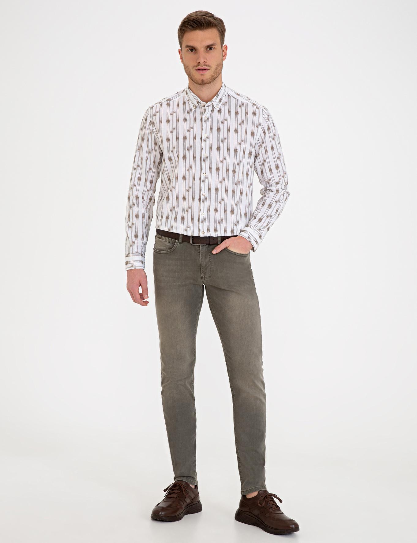 Haki Slim Fit Denim Pantolon