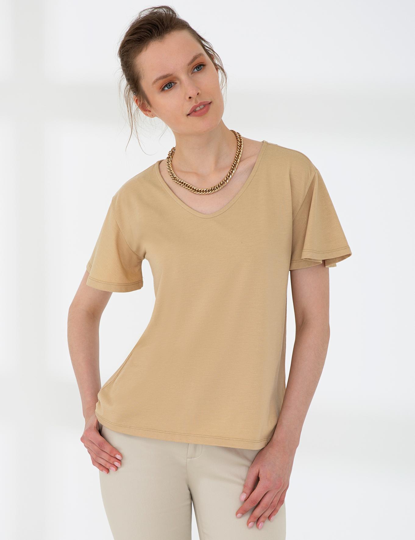 Açık Kahverengi Standart Fit V Yaka T-Shirt