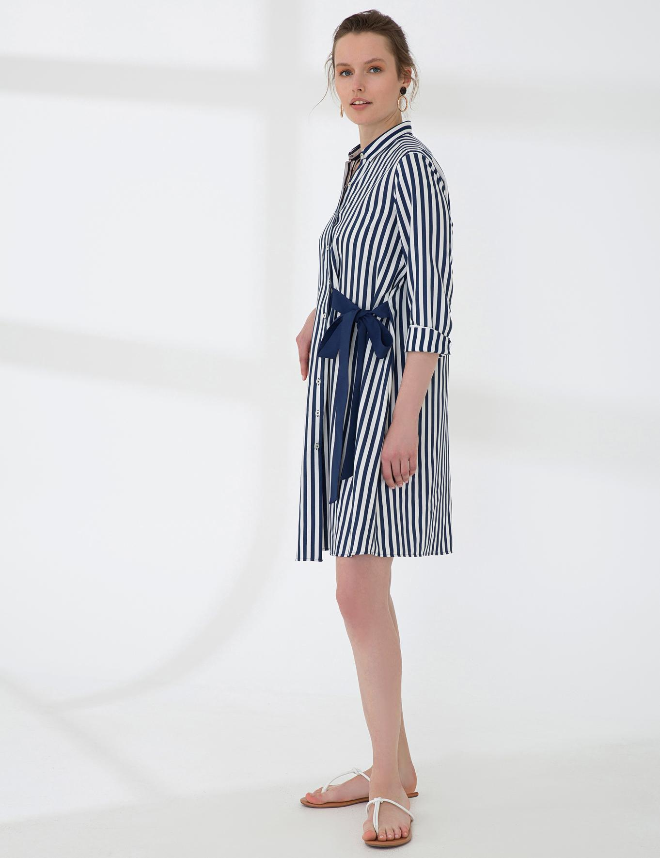 Lacivert Comfort Fit Gömlek Elbise