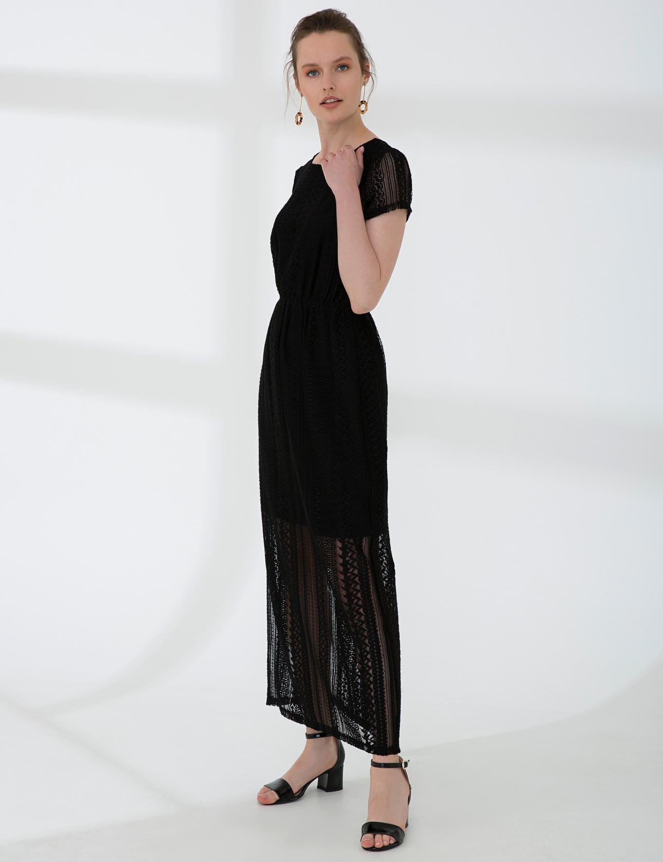 Siyah Standart Fit Elbise