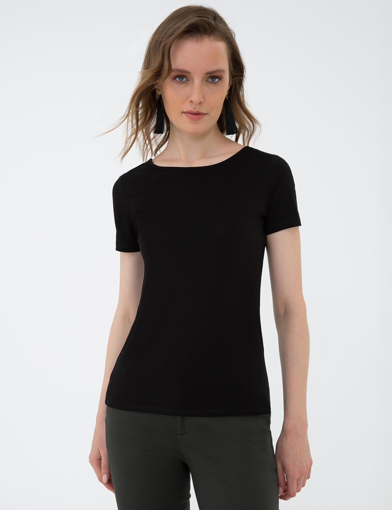 Siyah Standart Fit Bisiklet Yaka T-Shirt