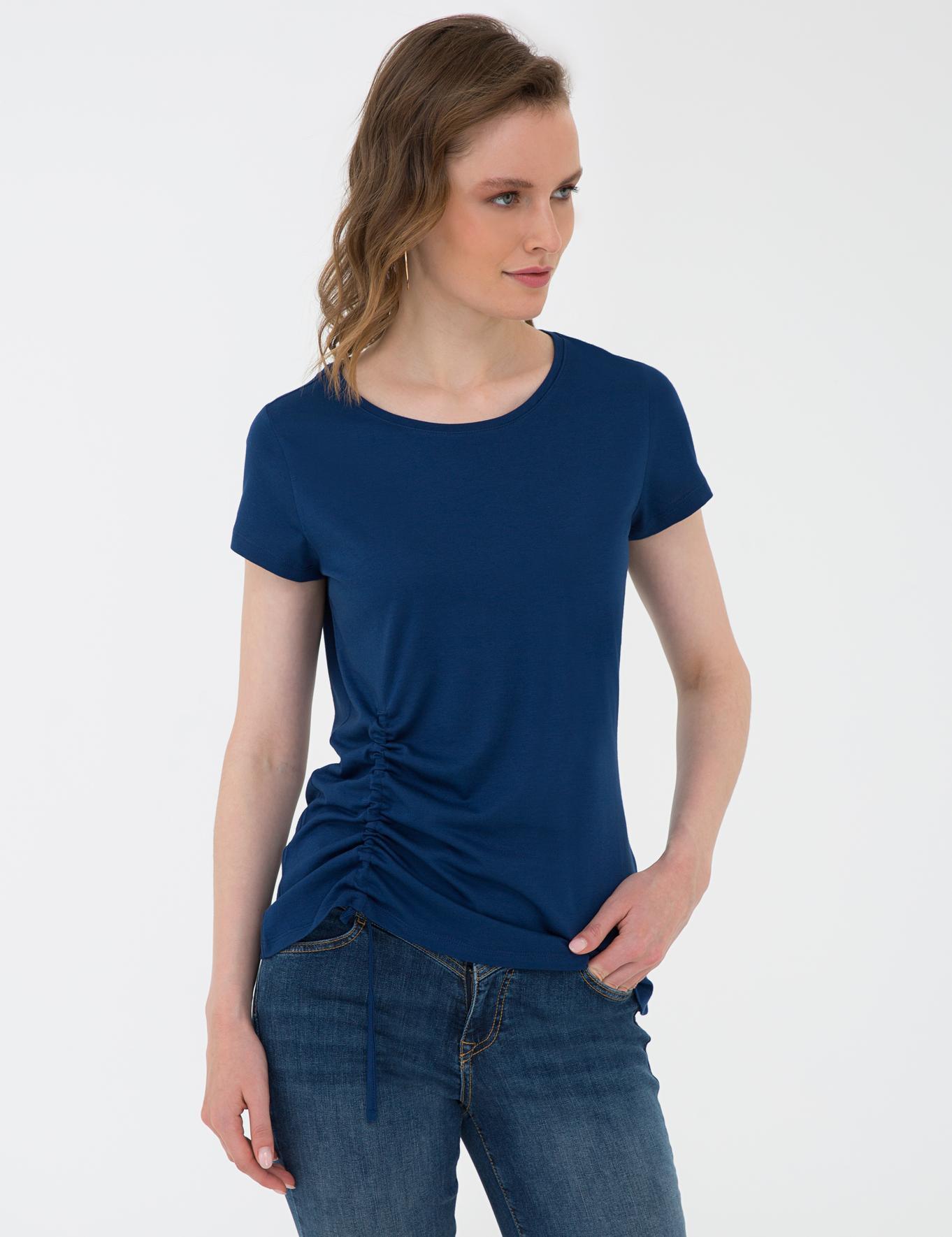 Lacivert Standart Fit Bisiklet Yaka T-Shirt