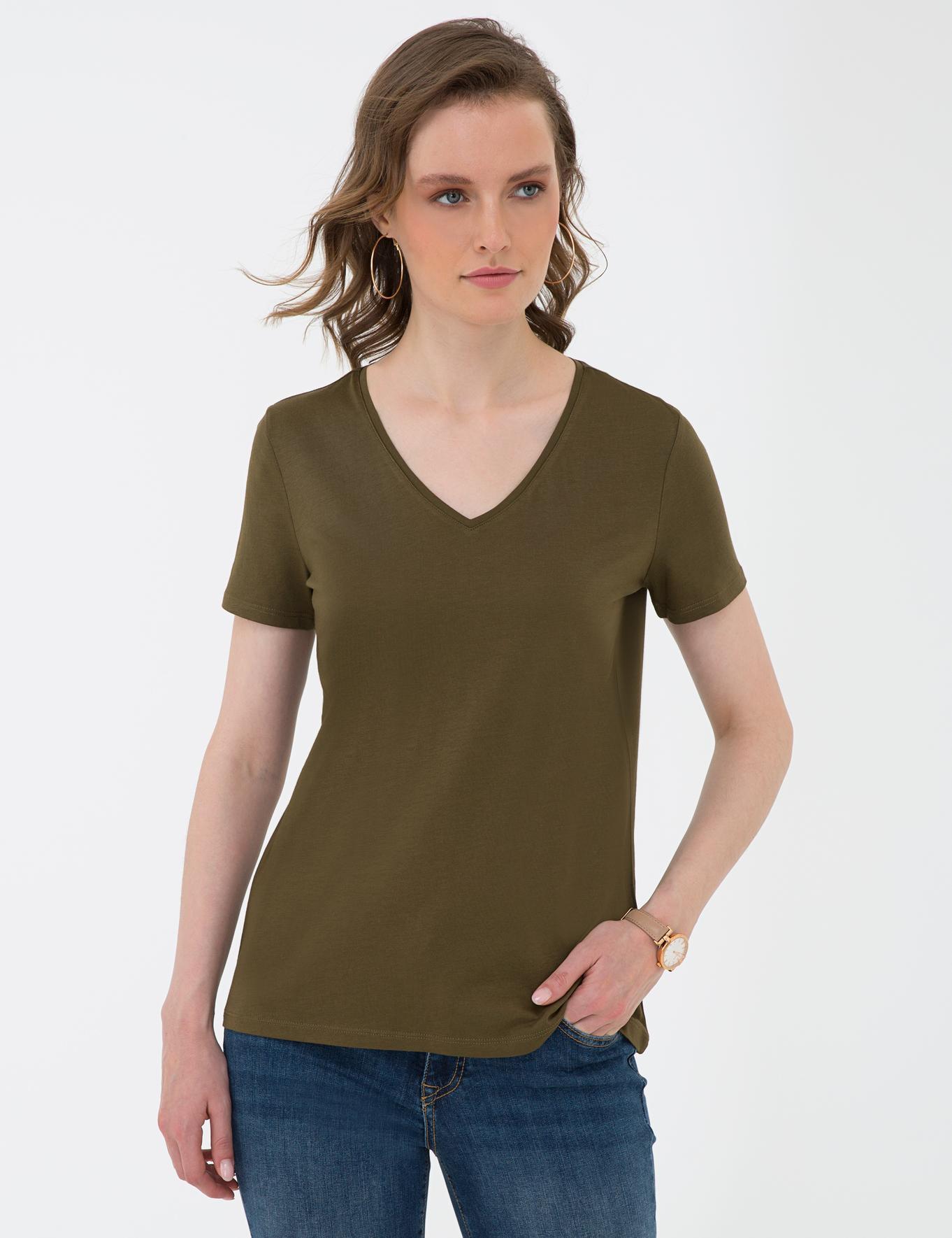 Haki Regular Fit V Yaka T-Shirt