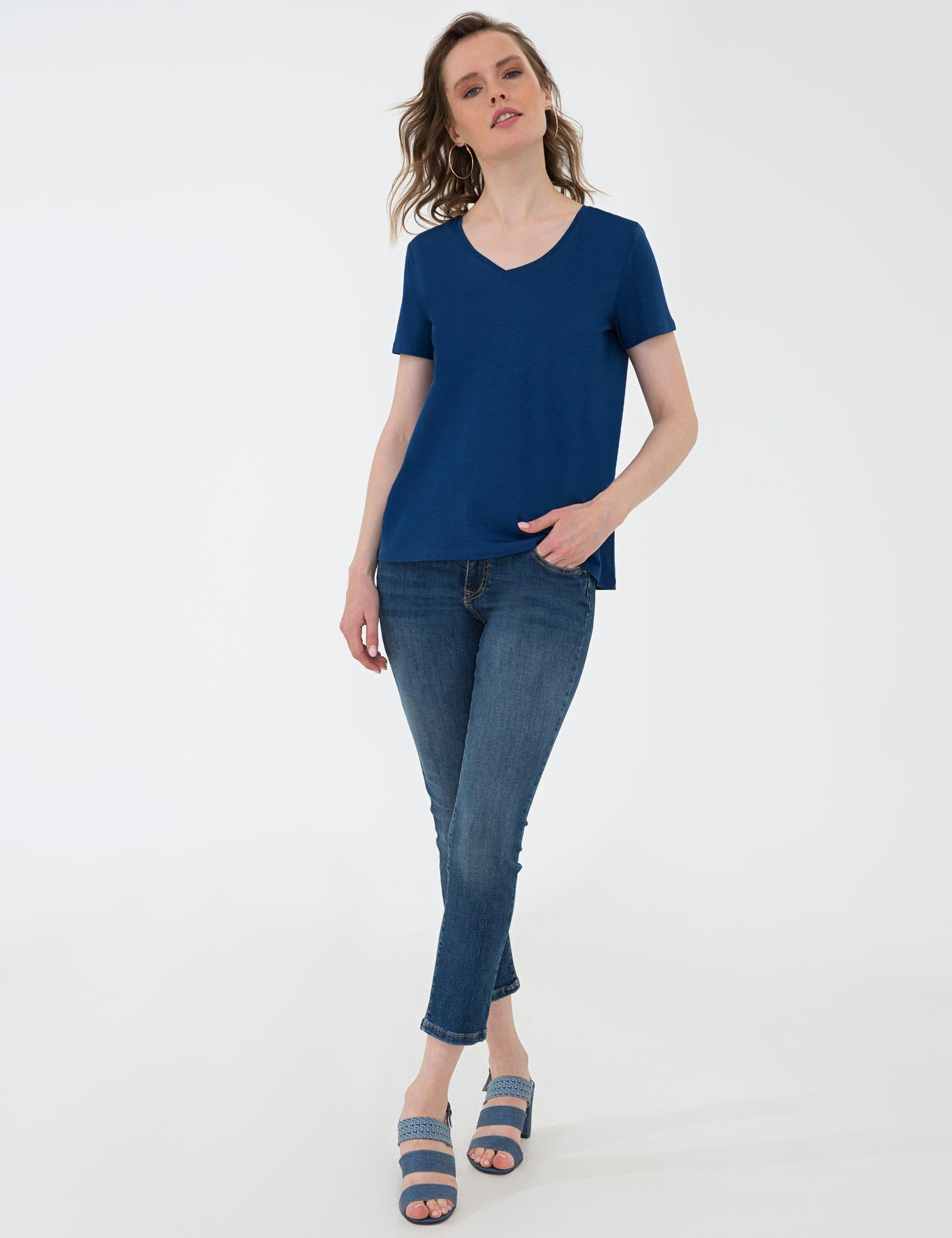 Lacivert Regular Fit V Yaka T-Shirt