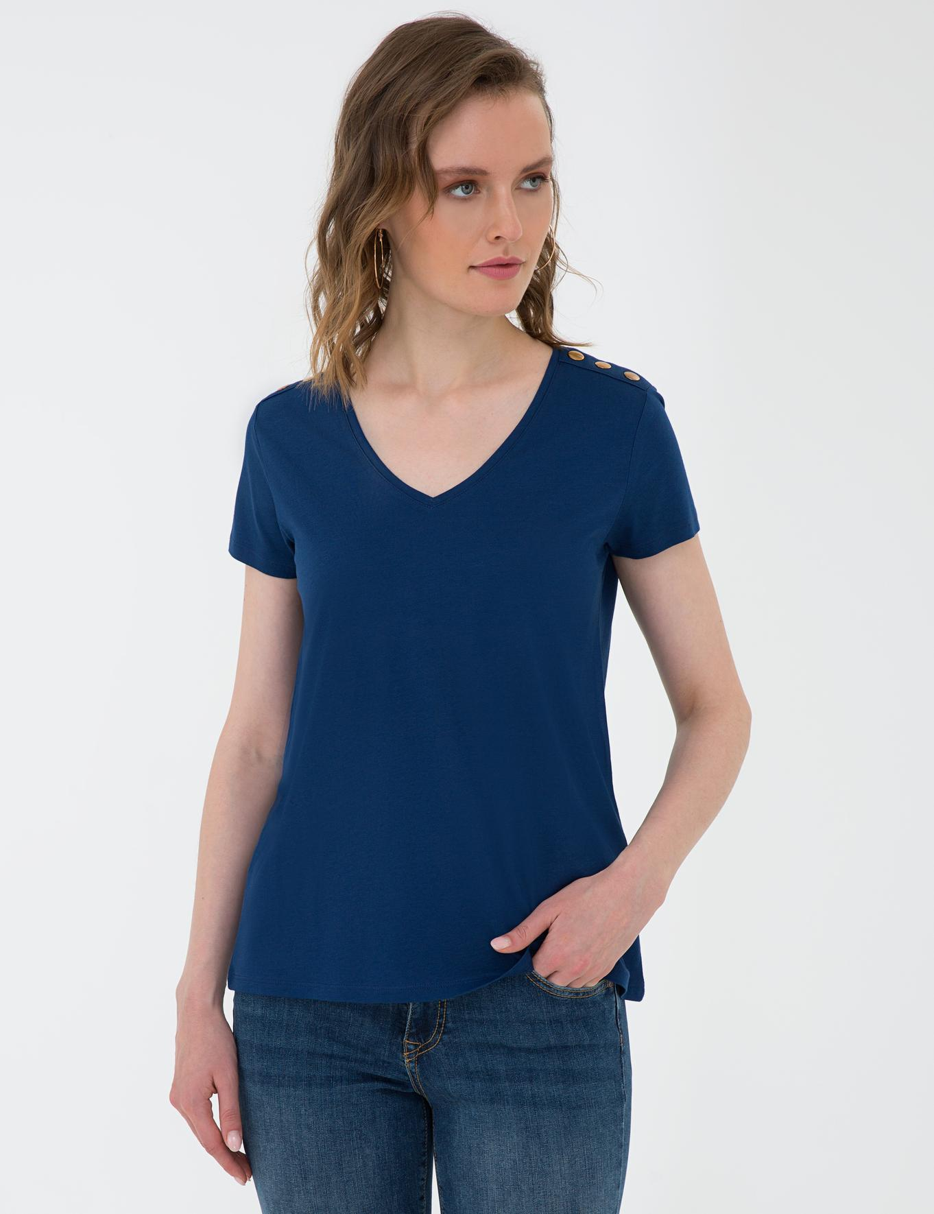 Lacivert Standart Fit V Yaka T-Shirt