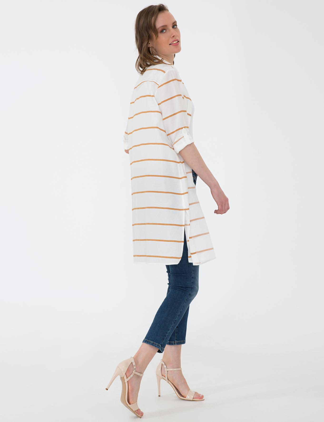 Safran Detaylı Regular Fit Beyaz Gömlek