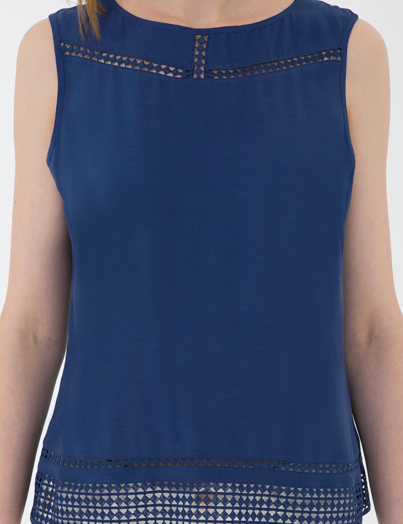 Lacivert Standart Fit Kolsuz Bluz