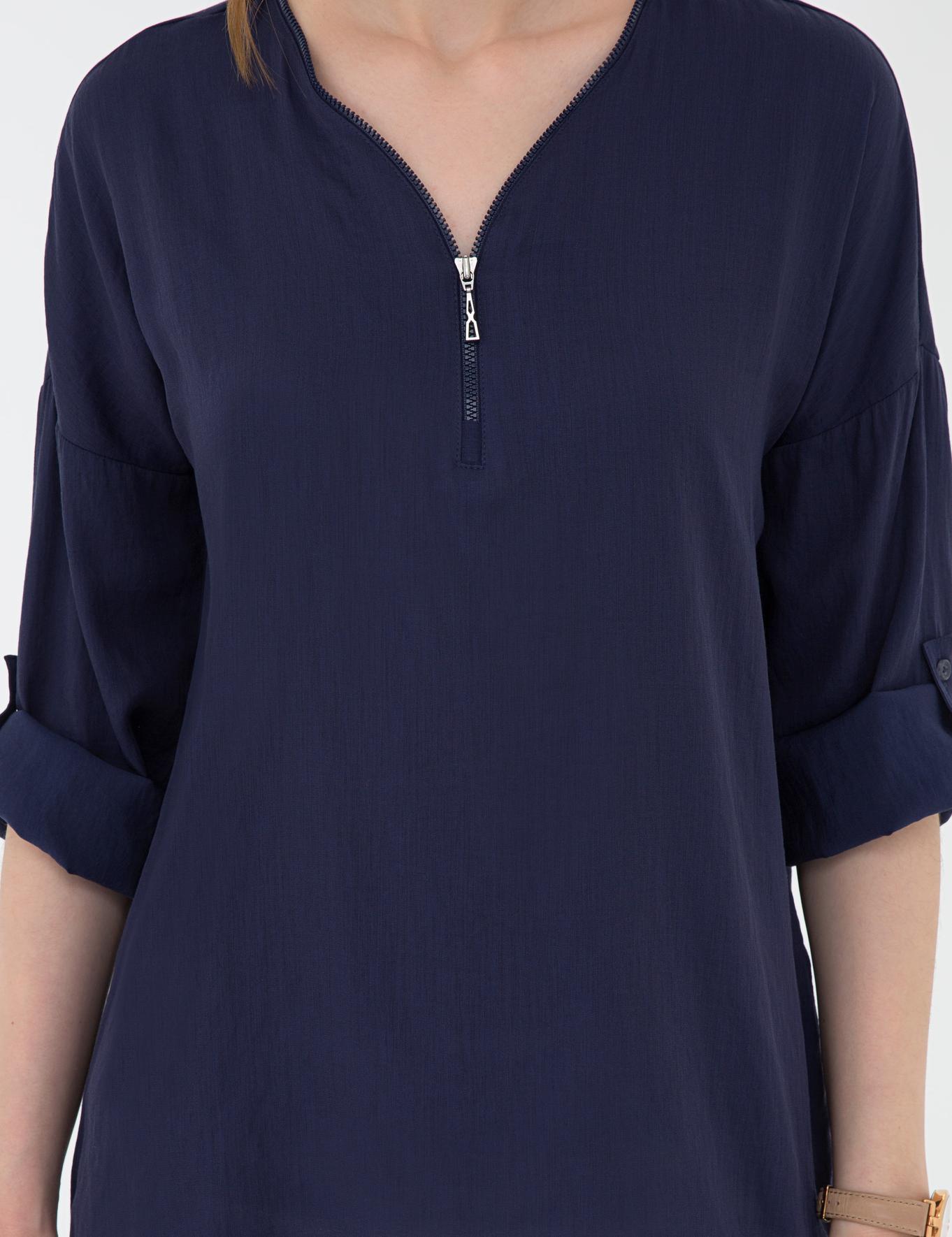 Lacivert Comfort Fit V Yaka Gömlek