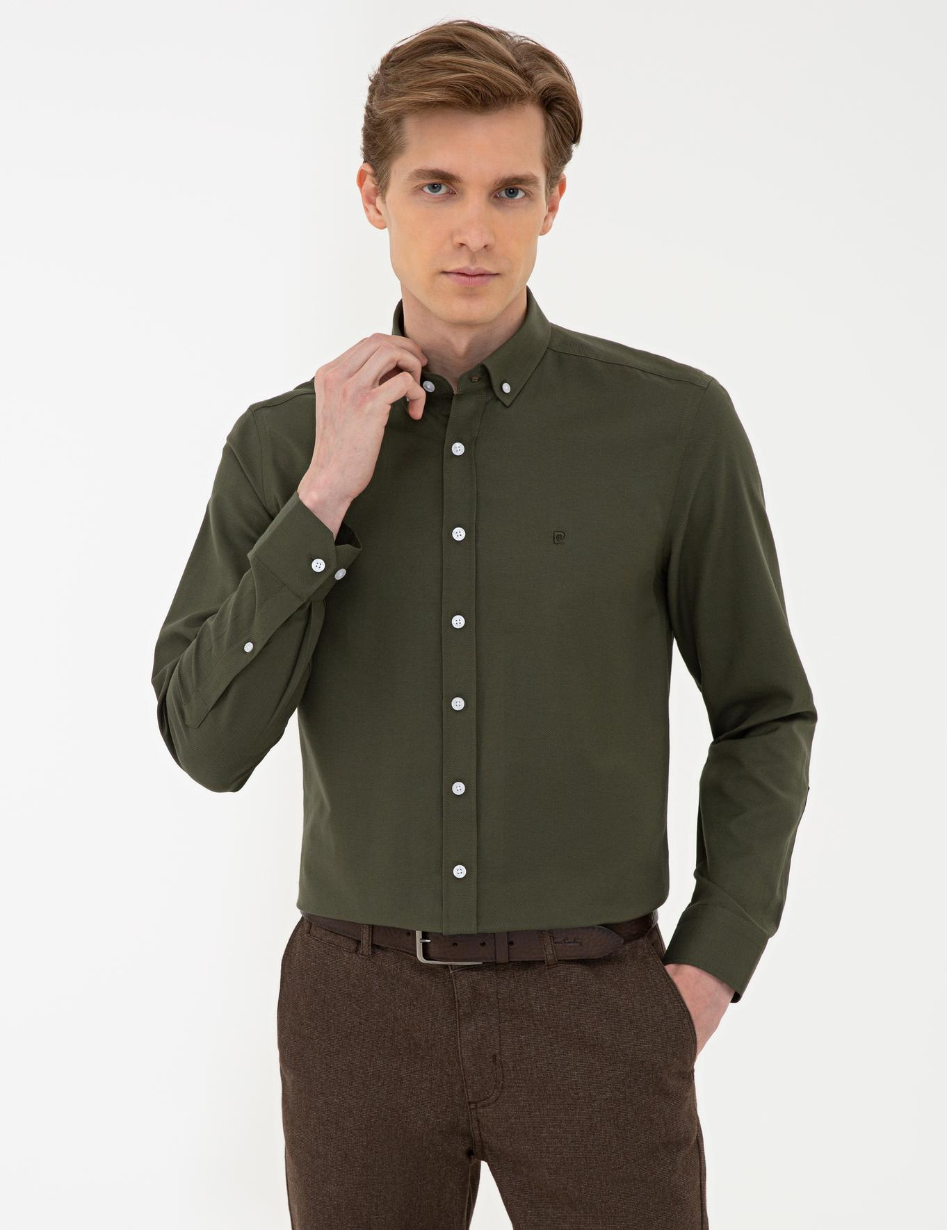 Haki Slim Fit Oxford Gömlek