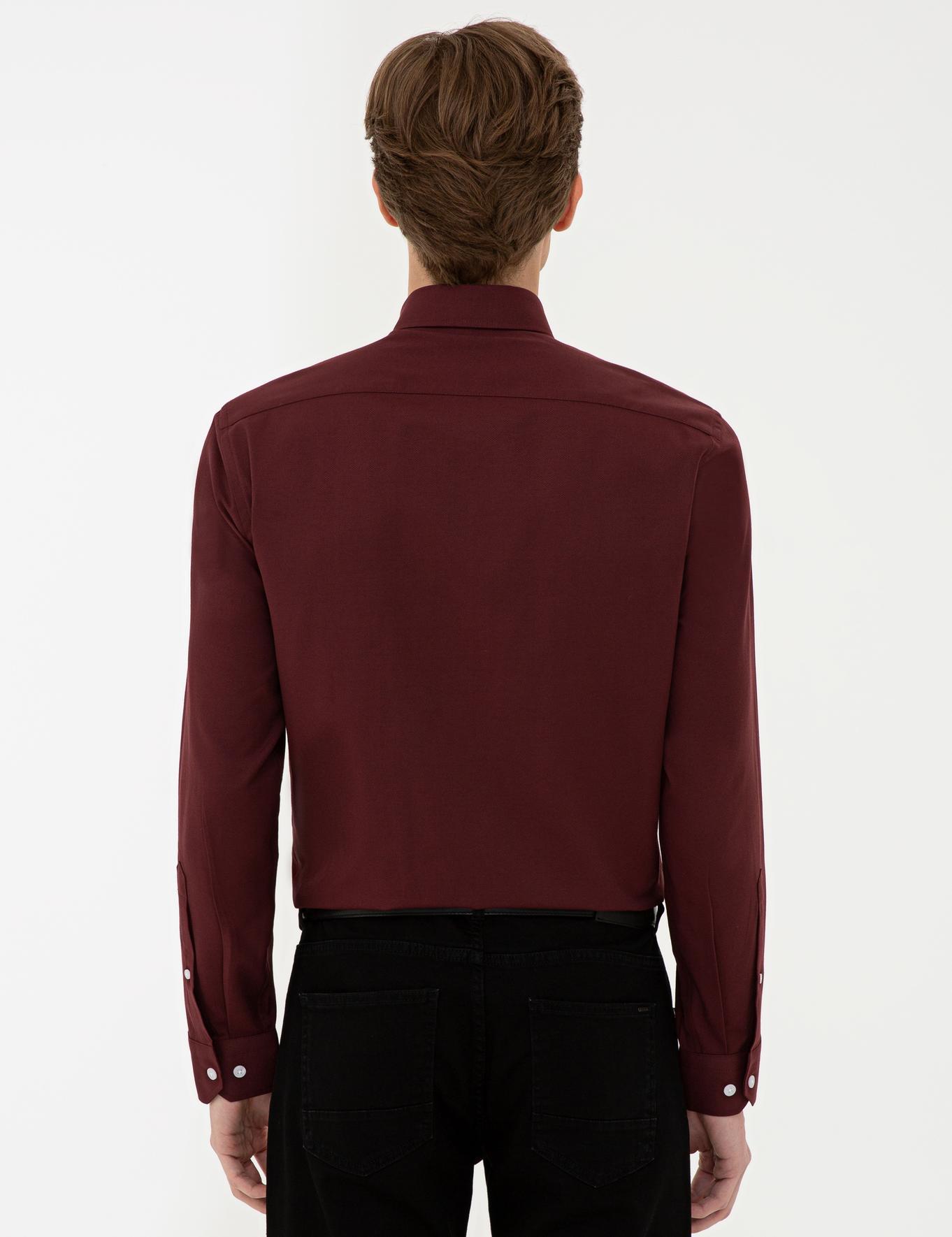 Bordo Slim Fit Oxford Gömlek