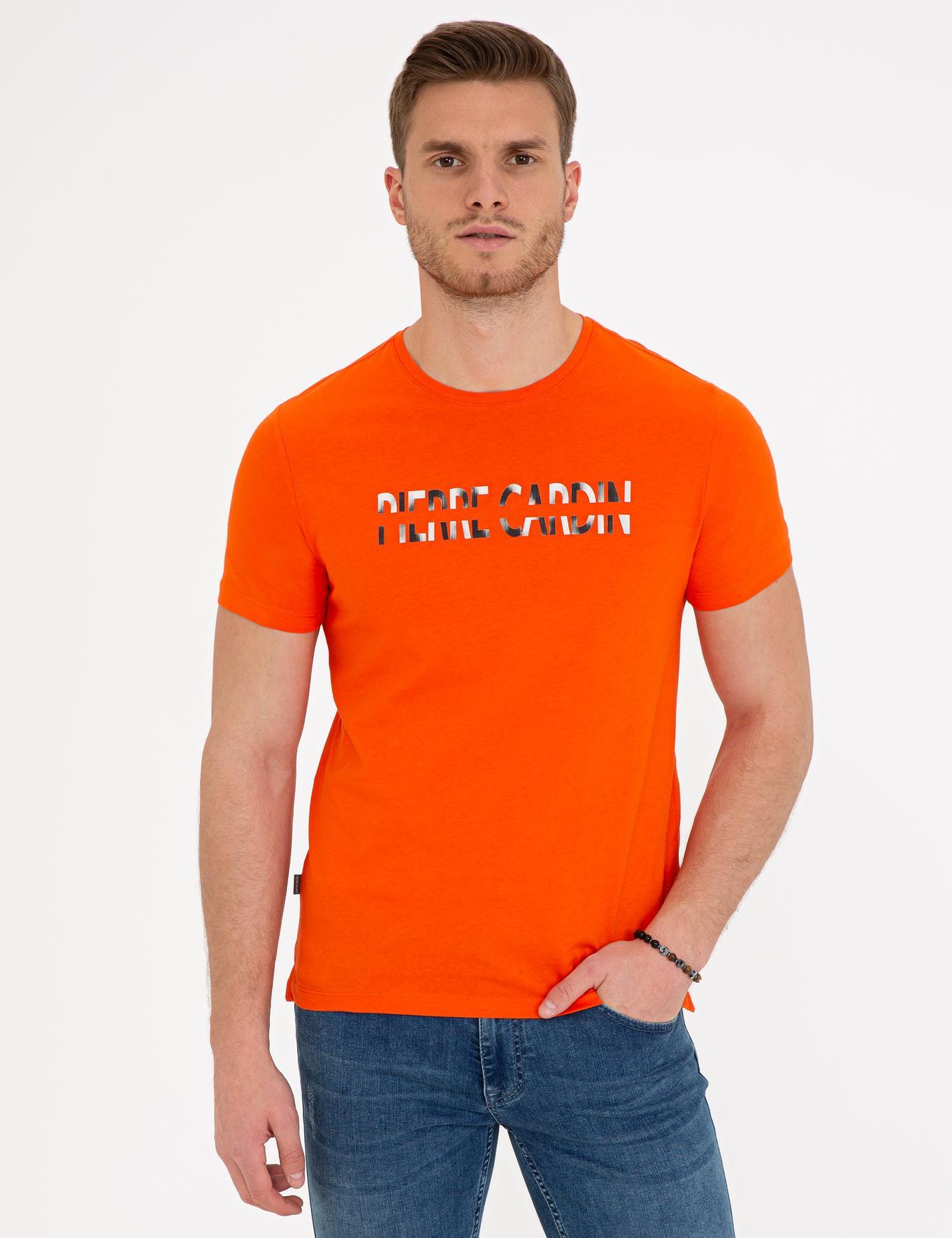 Turuncu Slim Fit Bisiklet Yaka T-Shirt
