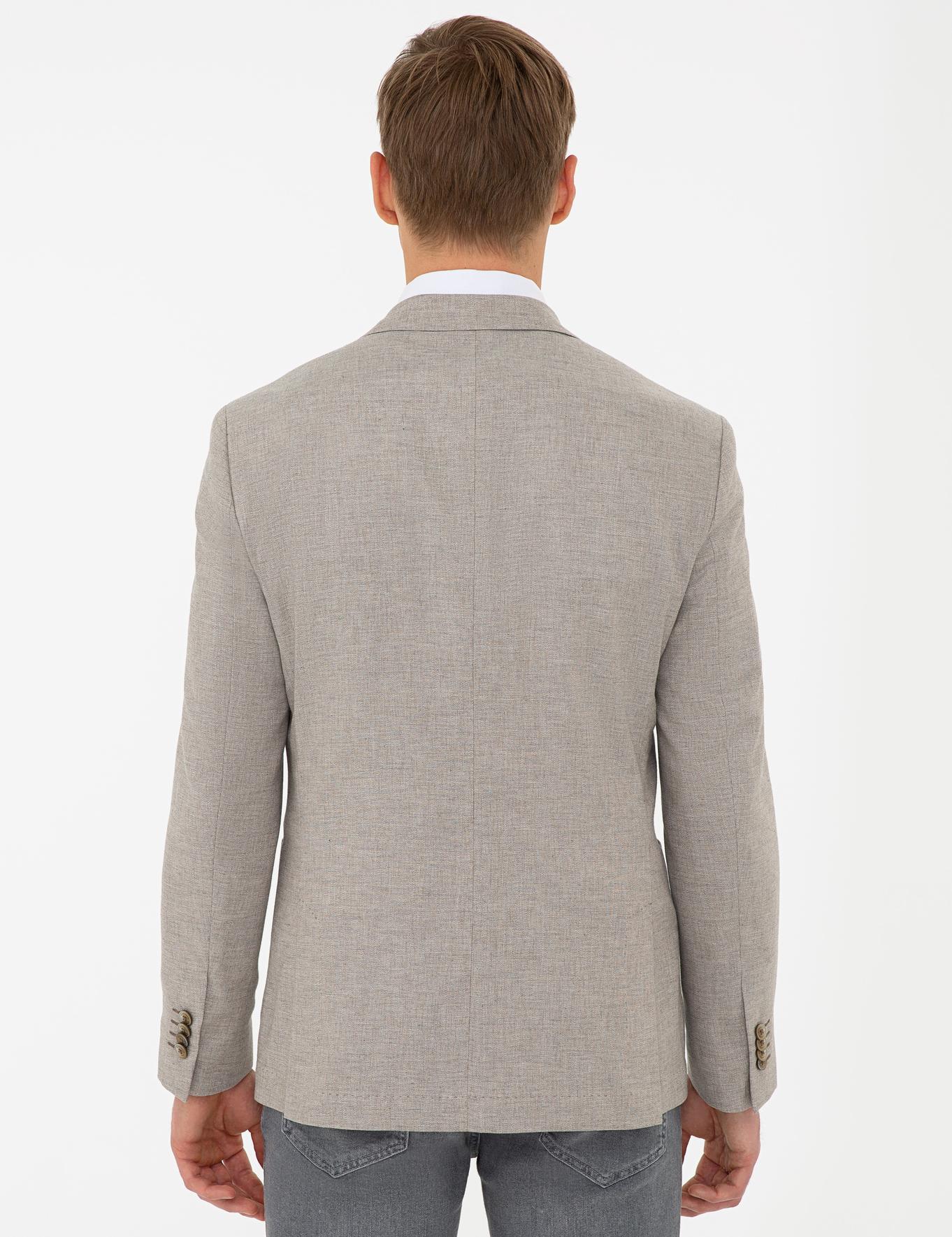 Bej Slim Fit Ceket