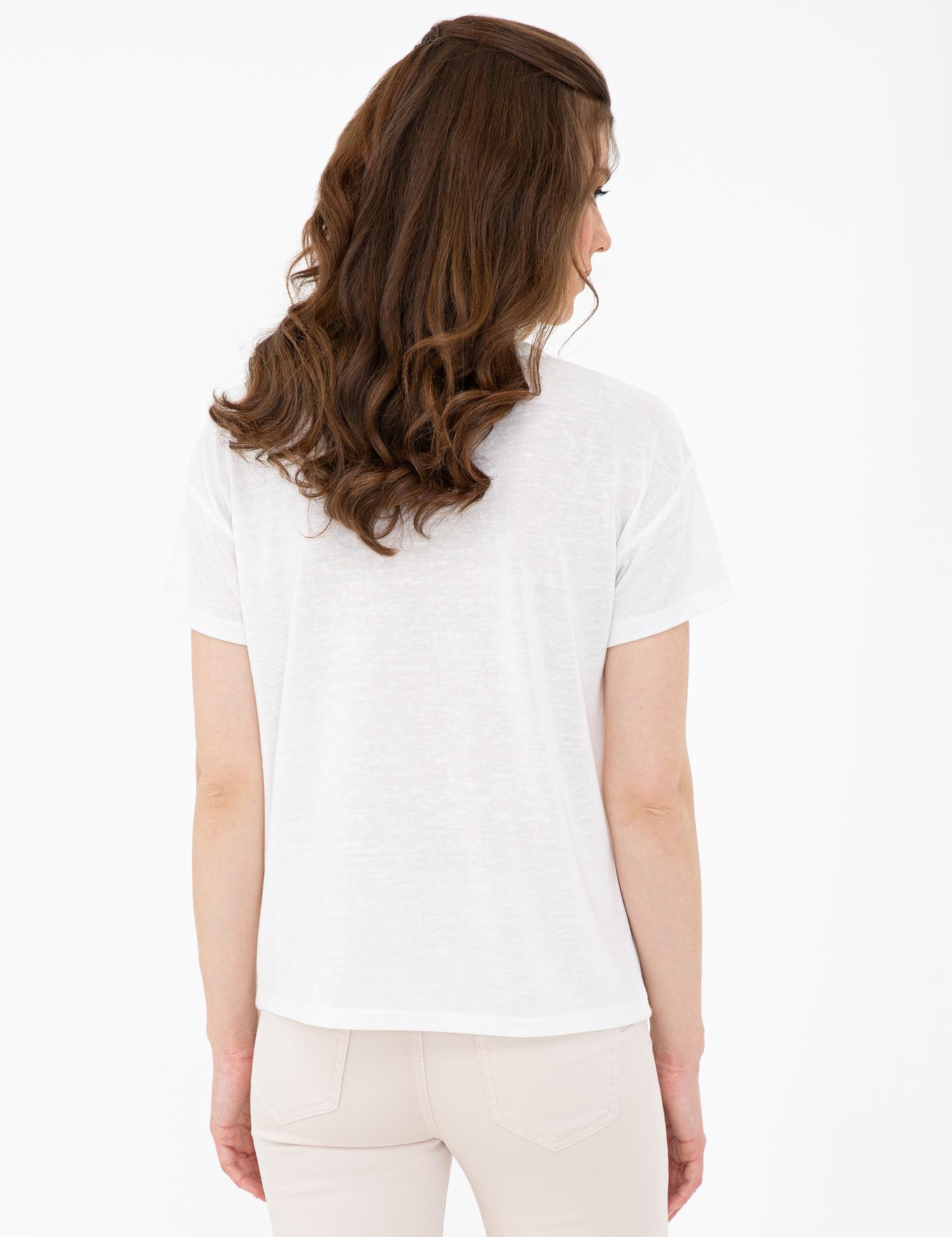 Beyaz Standart Fit Bisiklet Yaka T-Shirt