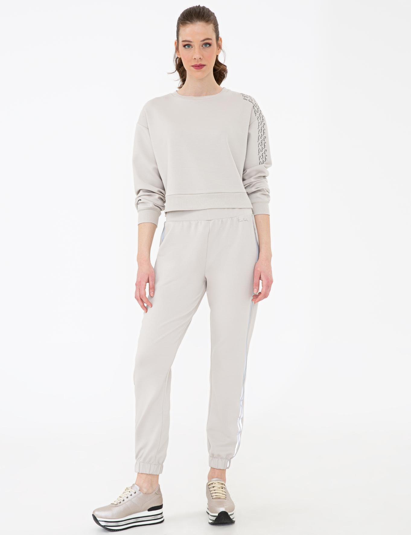 Bej Crop Top Fit Sweatshirt