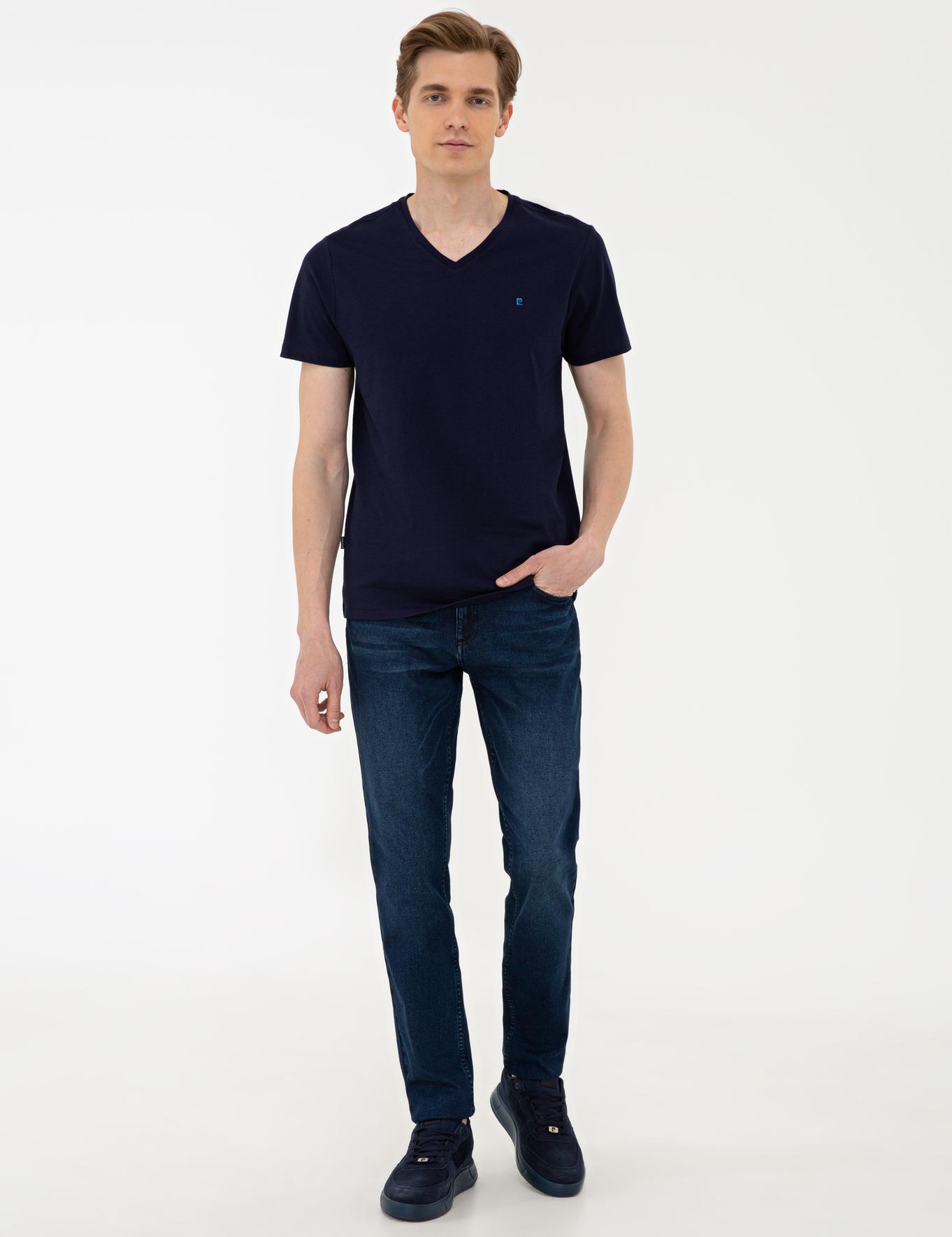 Lacivert Slim Fit Basic V Yaka T-Shirt