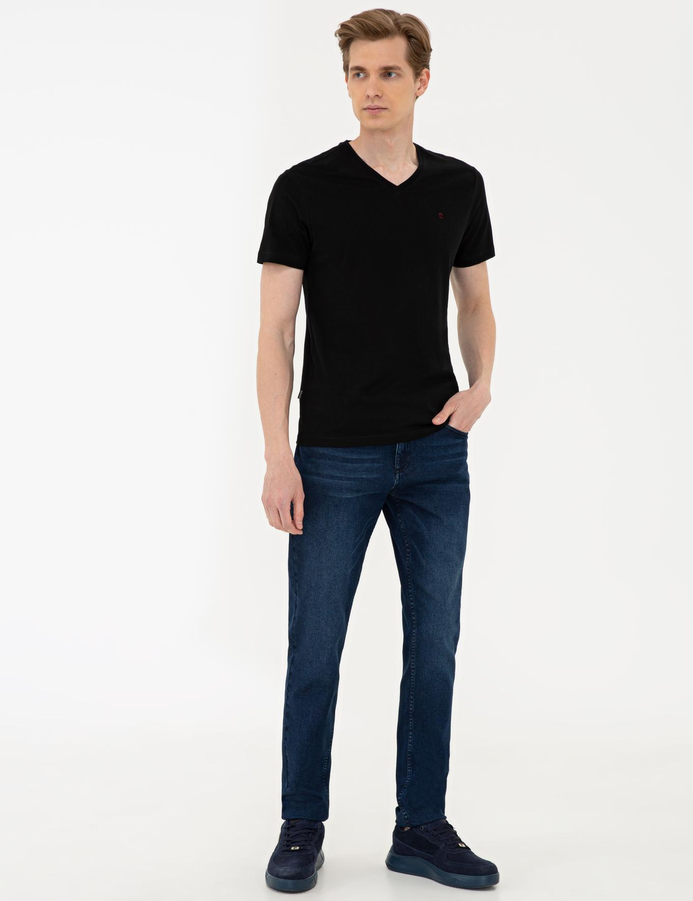 Siyah Slim Fit Basic V Yaka T-Shirt