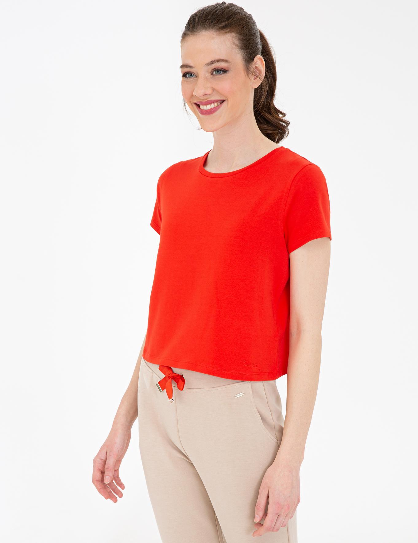 Nar Çiçeği Crop Top Fit T-Shirt