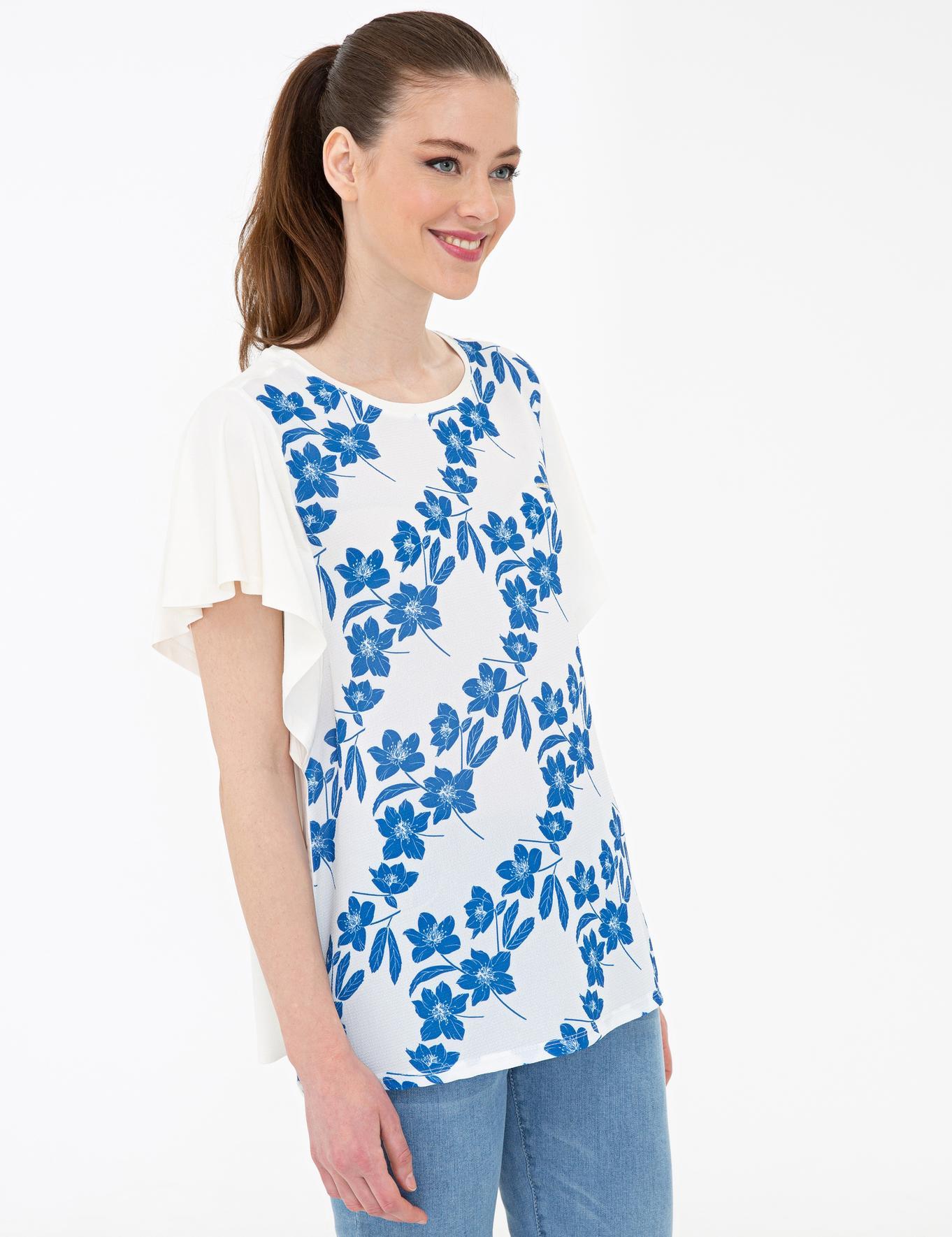 Saks Mavi Detaylı Beyaz Standart Fit T-Shirt
