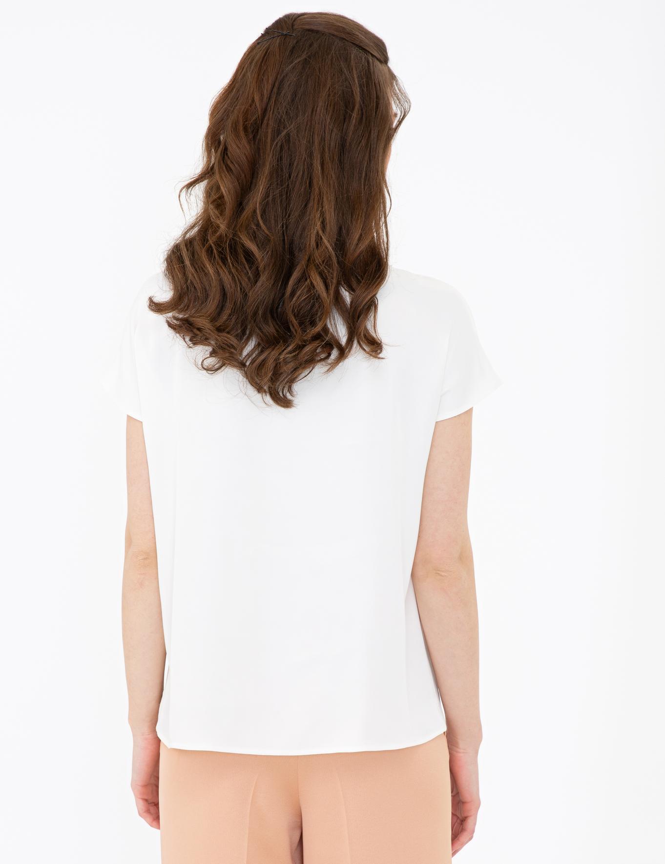 Beyaz Regular Fit Kısa Kollu Bluz