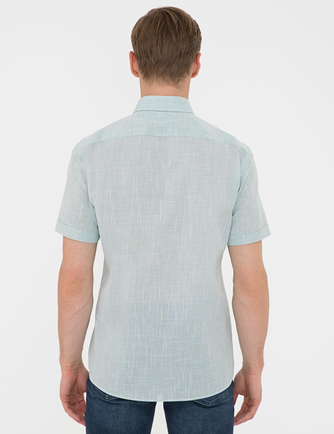 Yeşil Regular Fit Keten Görünümlü Kısa Kollu Gömlek
