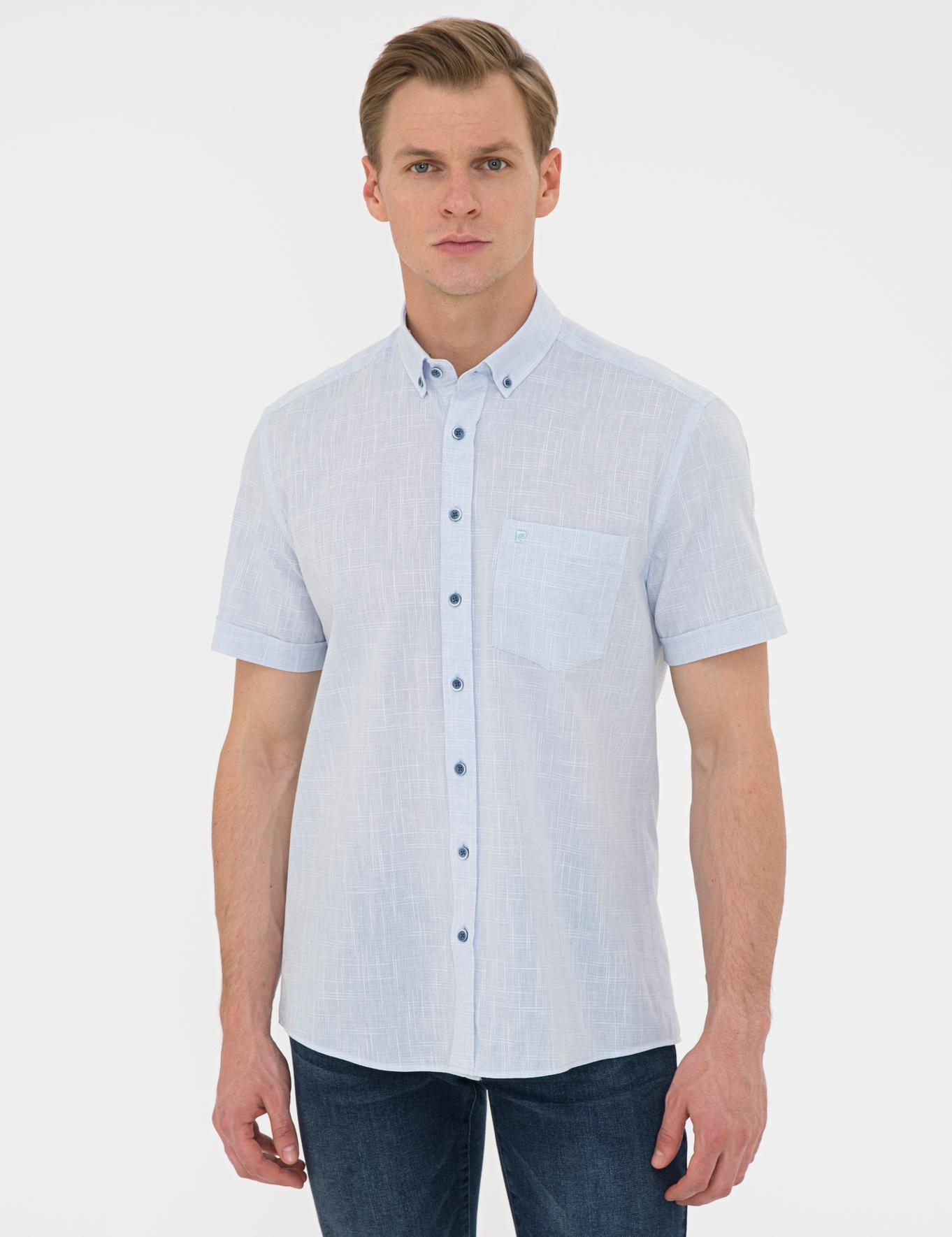 Açık Mavi Regular Fit Keten Görünümlü Kısa Kollu Gömlek